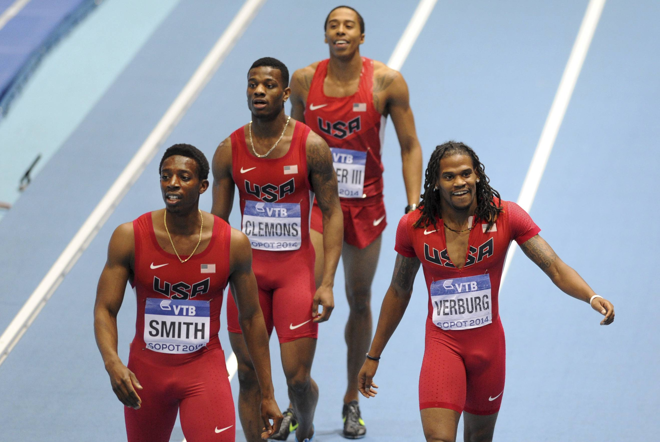 United States' Calvin Smith, Kyle Clemons, Kind Butler III and David Verburg, from left, celebrate after winning the gold and setting a new indoor world record in the men's 4x400m relay final during the Athletics Indoor World Championships in Sopot, Poland.