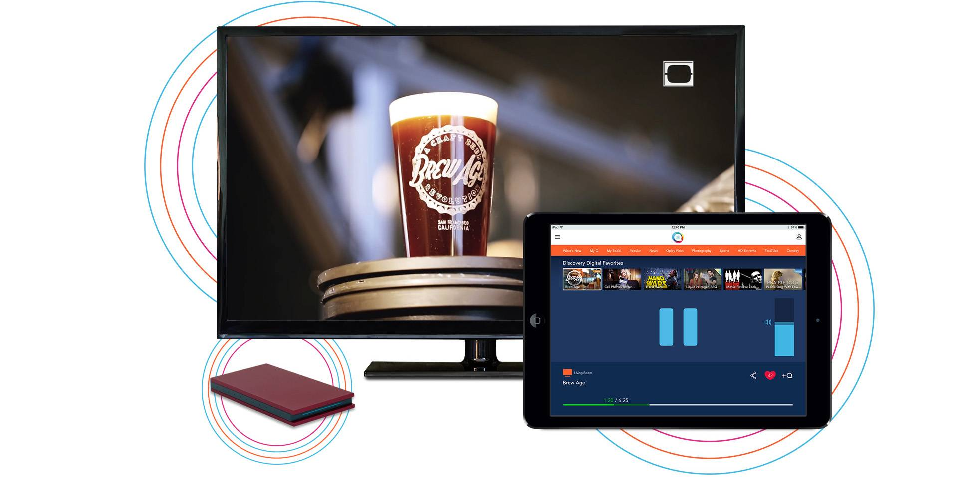 "The Qplay is controlled through an application that can be installed on an iPad or iPhone to select video separated into categories, or ""Qs."""
