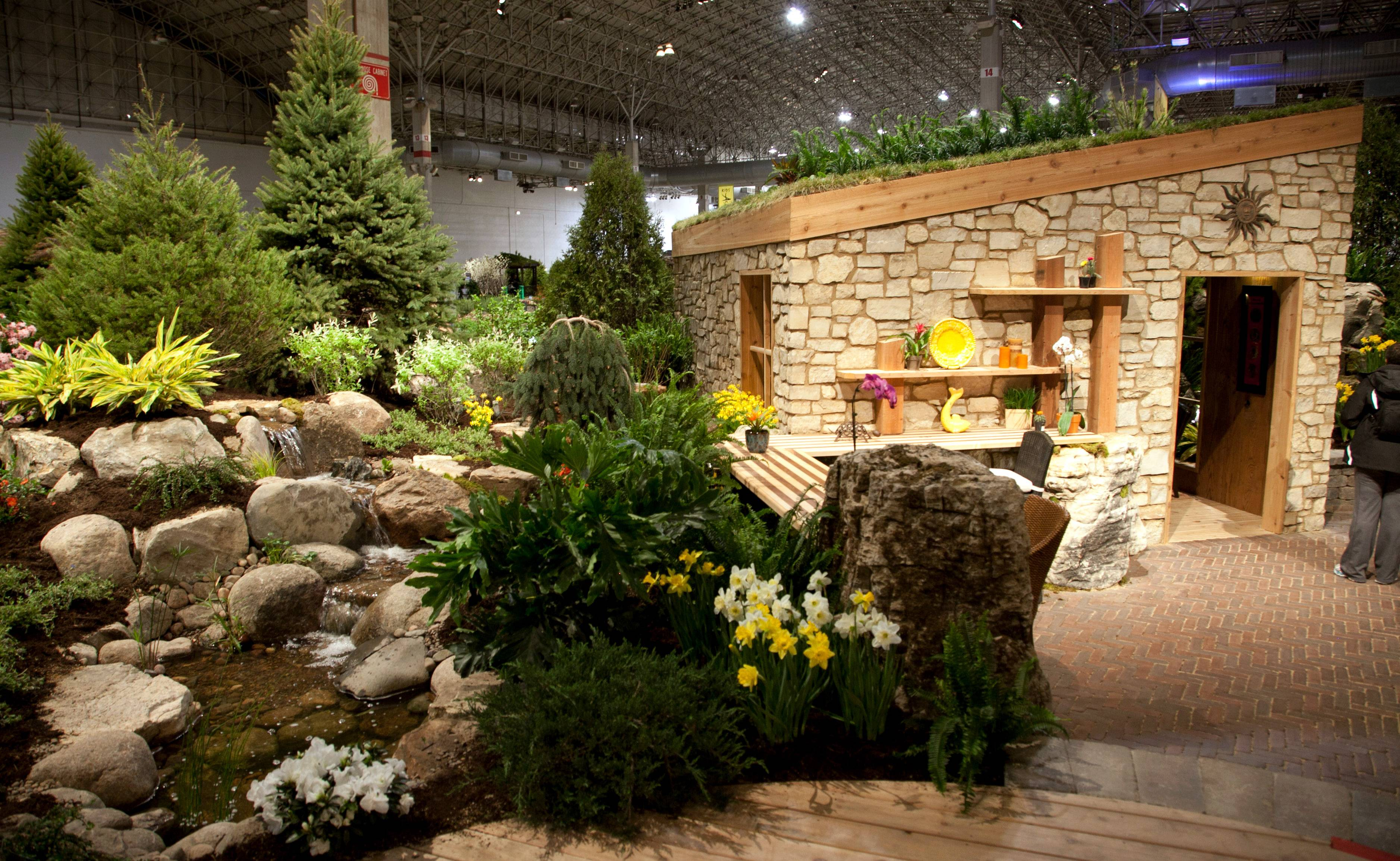 "A hut was built in a collection of trees at the 2013 Chicago Flower & Garden Show. The theme of this year's show is ""Do Green, Do Good."""