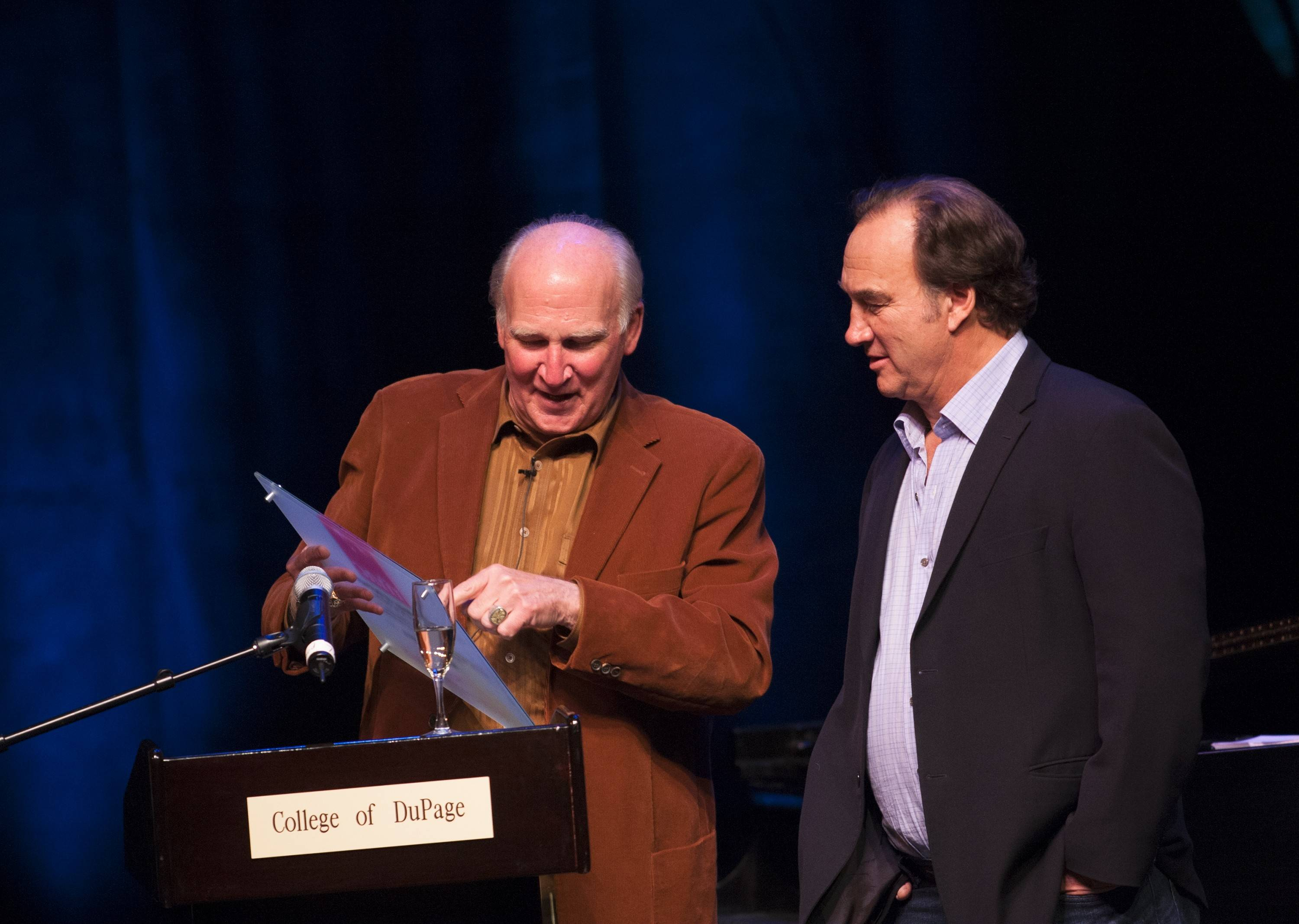 College of DuPage President Robert L. Breuder on Saturday announced that the performance hall at the college's McAninch Arts Center has been renamed after Jim Belushi, right, and his late brother, John. Jim Belushi graduated from the college in 1974.