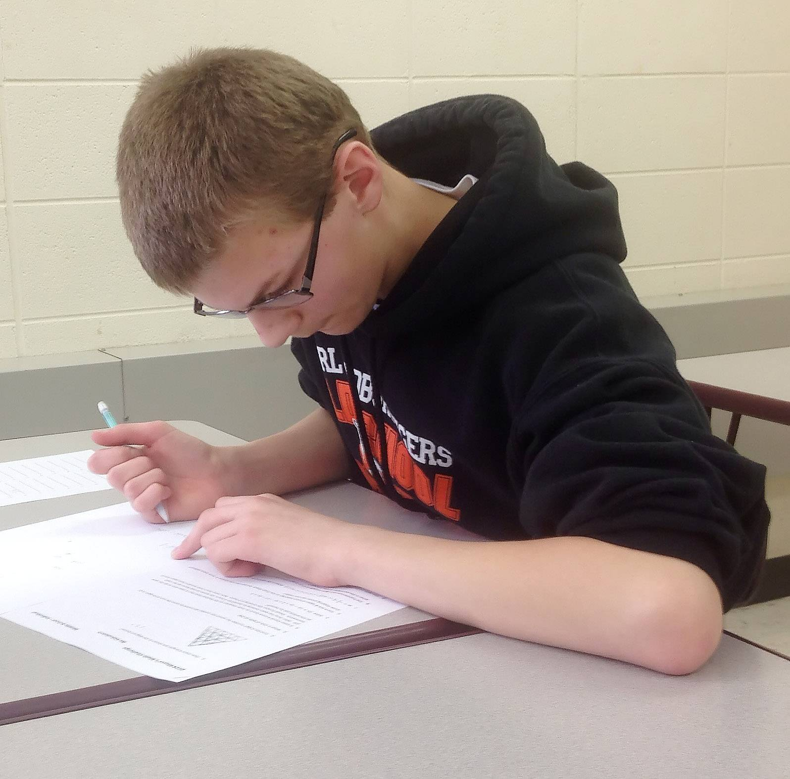 Carl Schoenfield, a 13-year-old eighth-grader at Mundelein's Carl Sandburg Middle School, said the lure of a $500 prize drew him to Sunday's Mayor's Cup Math Challenge. Dozens of students sixth grade through high school competed in the inaugural event.