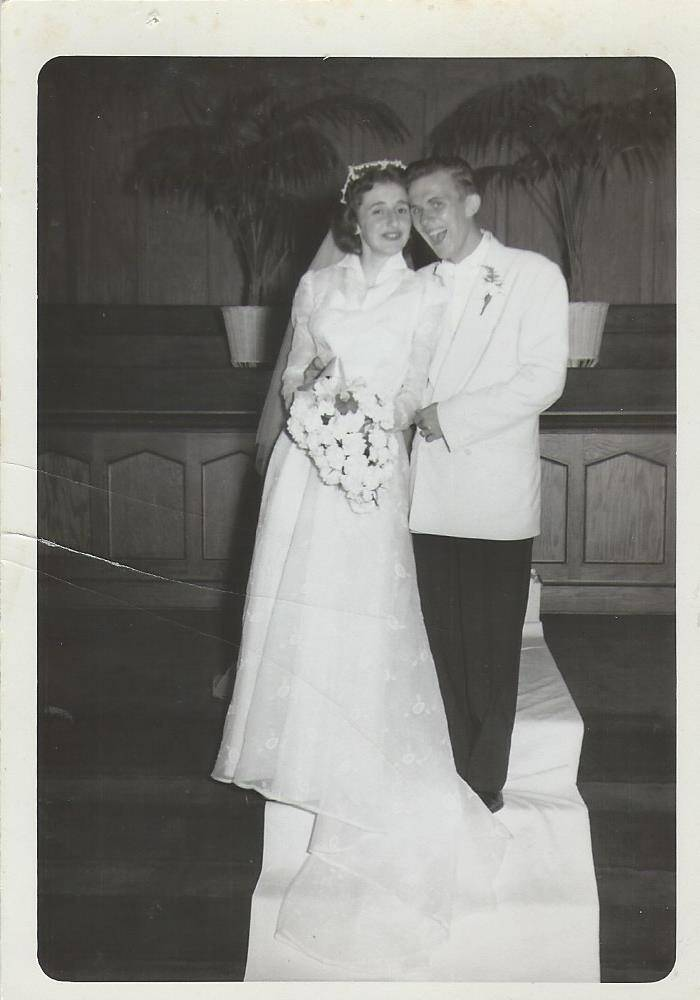 Having a good time on the first day of a marriage that would last for almost 63 years, Ron and Mary Lou McCurdy celebrate on Aug. 11, 1951.