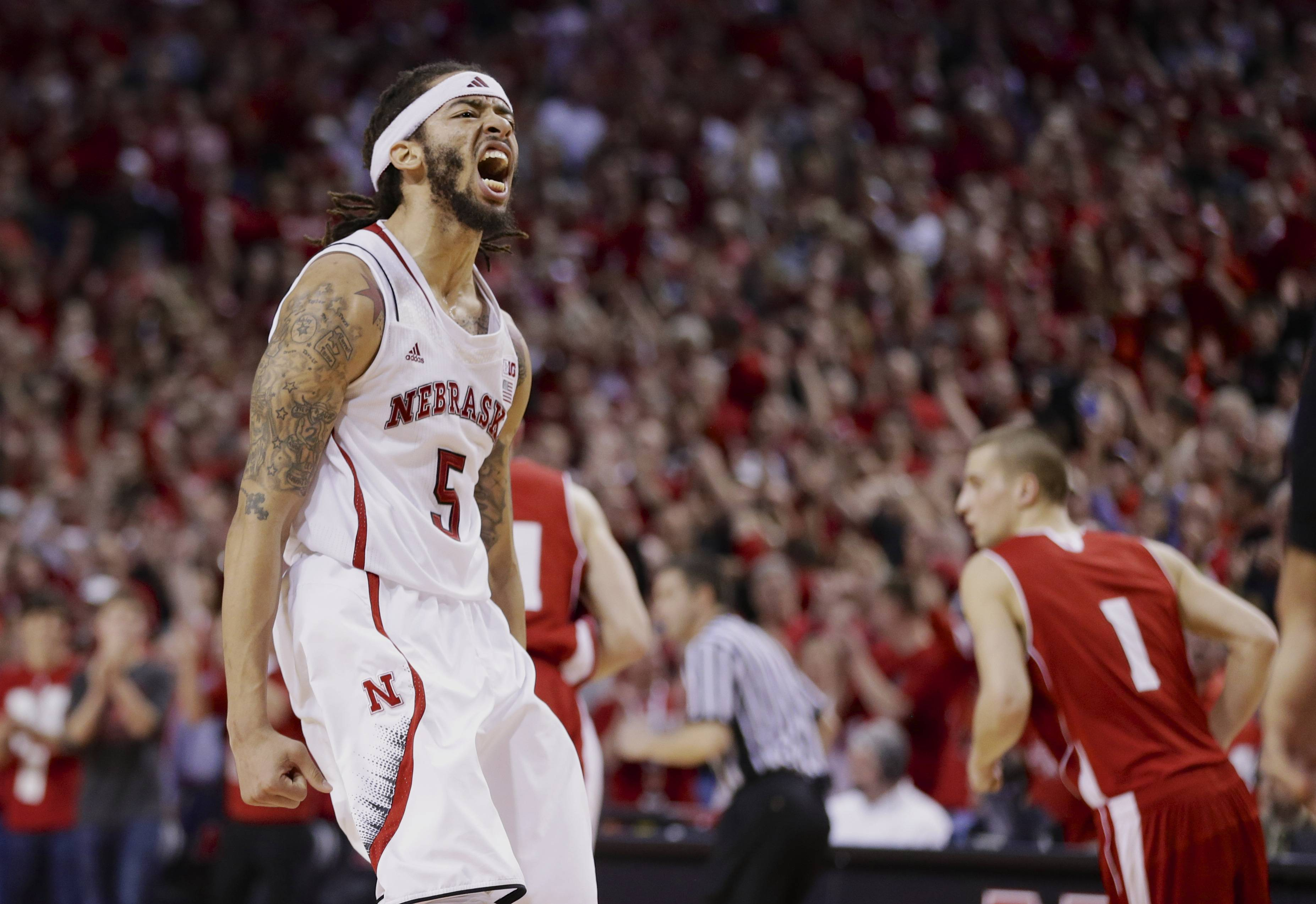 Nebraska's Terran Petteway (5) reacts after scoring in the second half of an NCAA college basketball game Sunday against Wisconsin in Lincoln, Neb. Nebraska won 77-68. The Cornhuskers will more than likely find themselves in the March Madness hunt for the NCAA tourney title.
