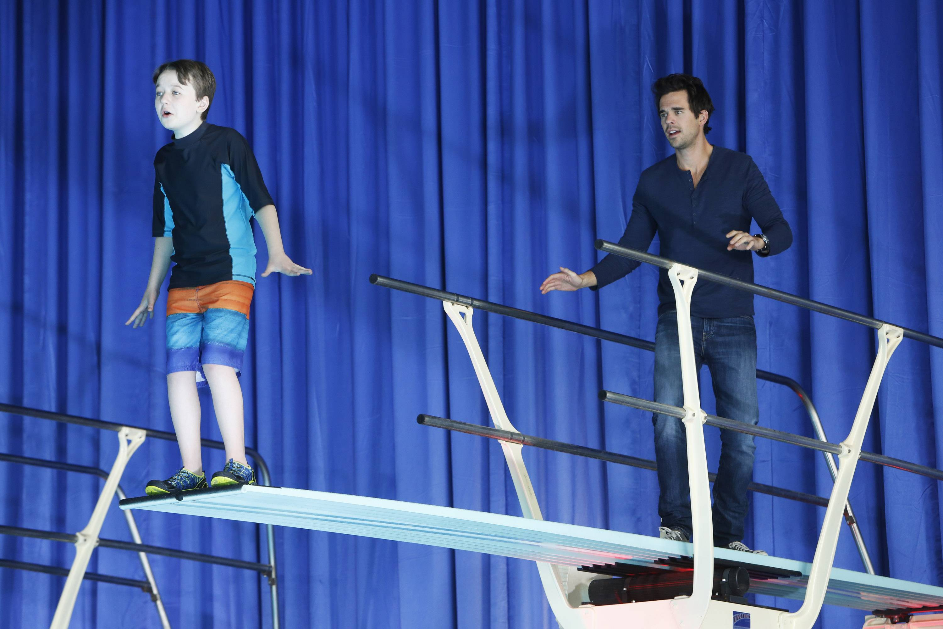 "Benjamin Stockham, left, stars as Marcus and David Walton as Will Freeman in NBC's new sitcom, ""About a Boy."""