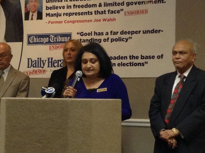 Eighth Congressional District Republican candidate Manju Goel Monday addresses questions regarding the campaign tactics used by an Indian-American SuperPAC that supports her candidacy. The SuperPAC has created a misleading website to attack her primary opponent, Larry Kaifesh.