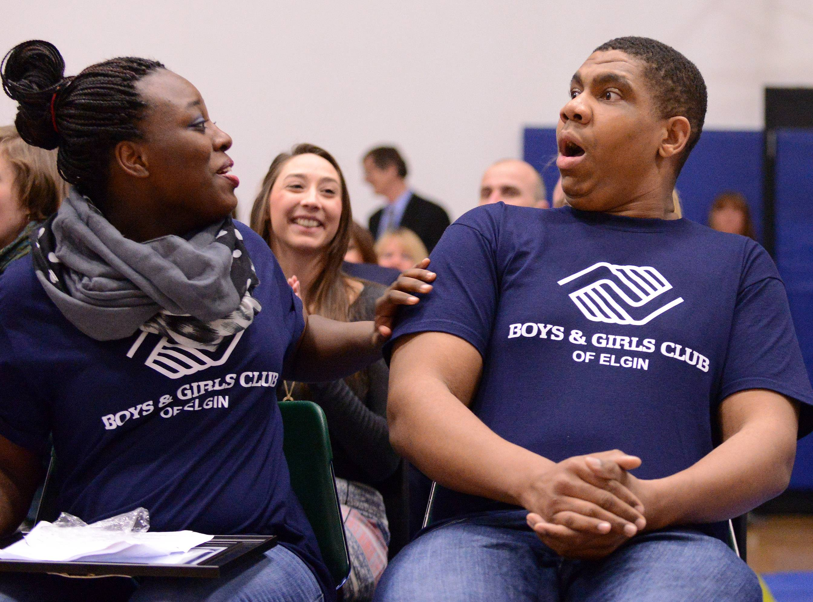 Chris Holling, a Larkin High School junior, reacts with surprise after being selected by the Boys & Girls Club of Elgin as a candidate to represent the club in the state competition for Youth of the Year.