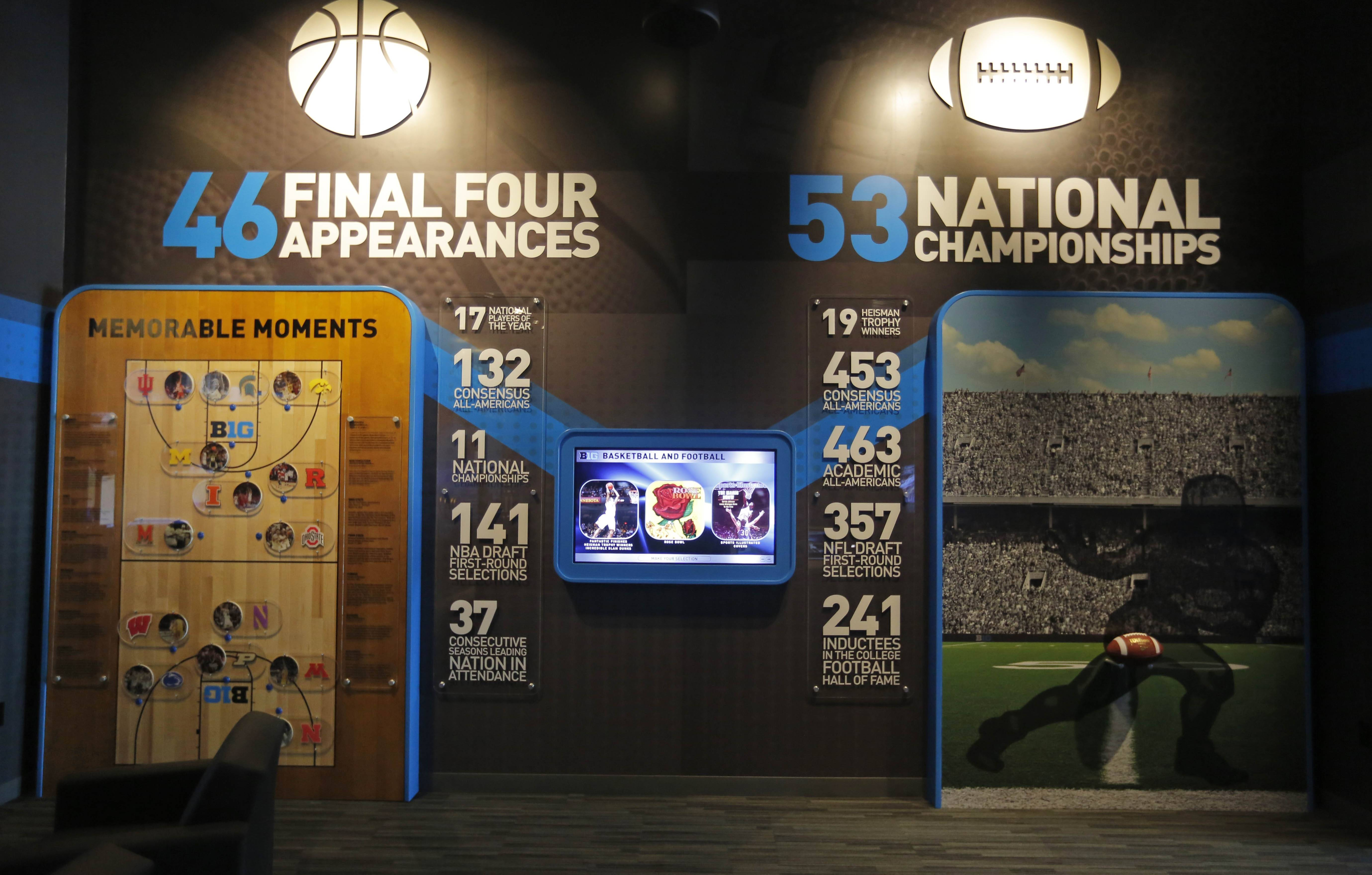 Many exhibits are part of iThe Big Ten Experience on the ground floor of the Big Ten conference's sparkling new headquarters in Rosemont.