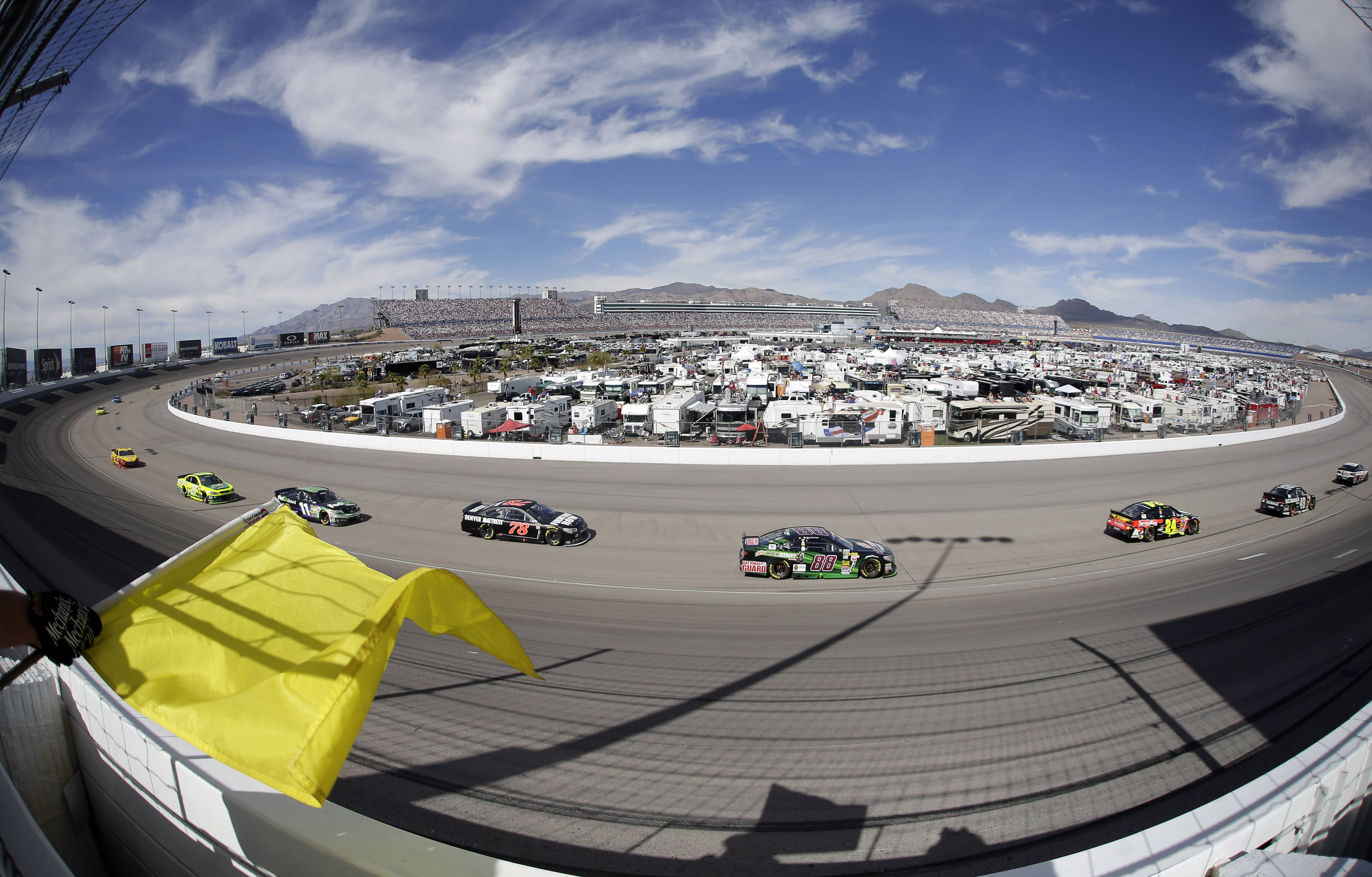 Dale Earnhardt Jr. (88) drives during a caution at a NASCAR Sprint Cup Series auto race Sunday in Las Vegas.