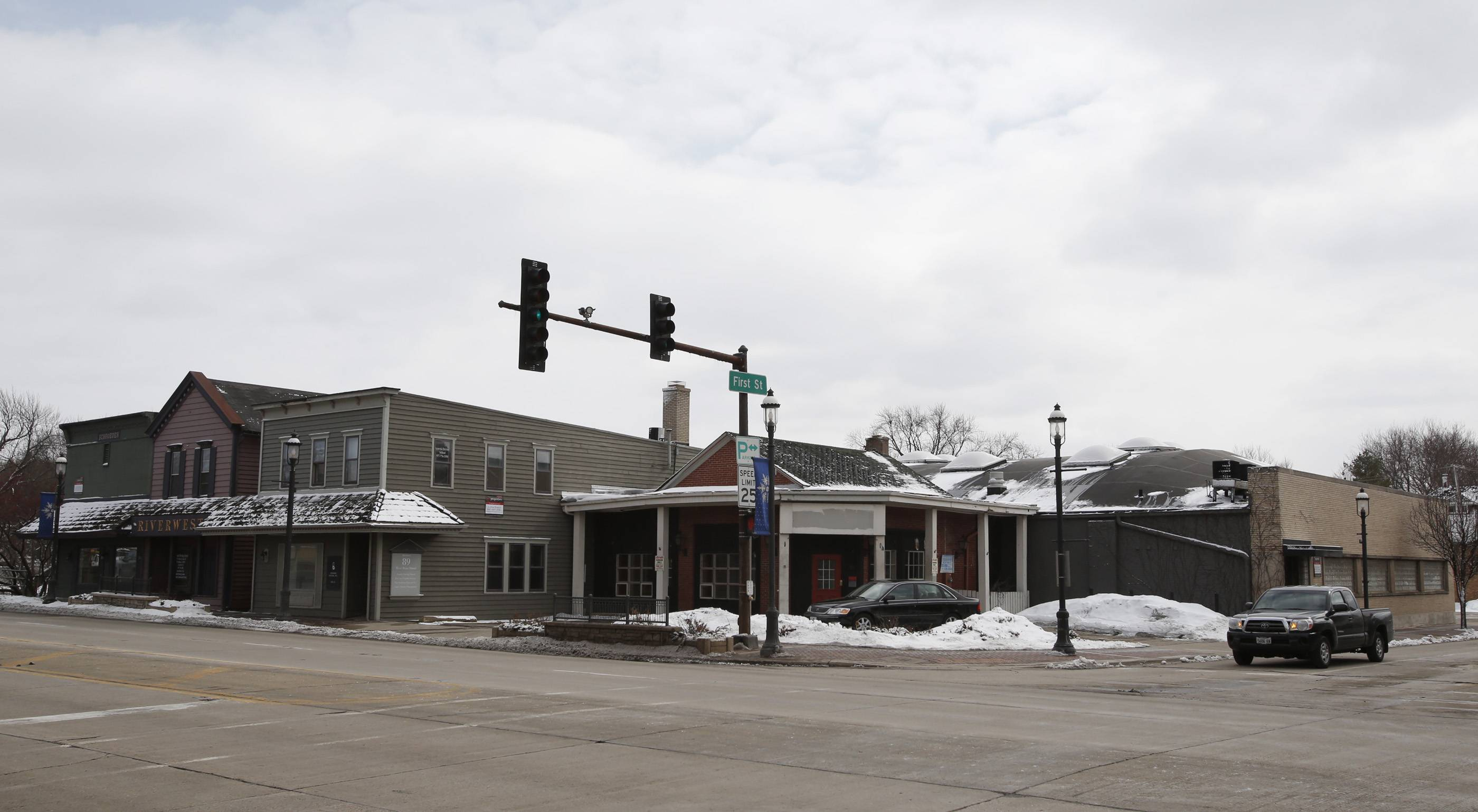 West Dundee officials are working on a redevelopment agreement to rehab this section of downtown, on the southeast corner of First Street and Route 72.