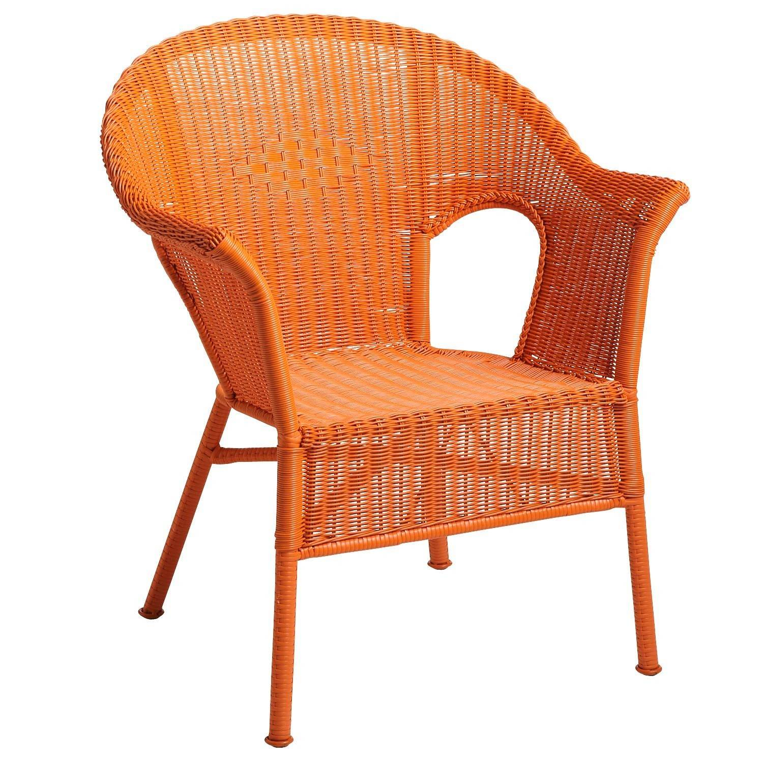 A Casbah chair in weather resistant rattan that comes in a variety of bright hues like orange, yellow and purple. Outdoor spaces are a good place to play with more vibrant colors than we might use indoors.