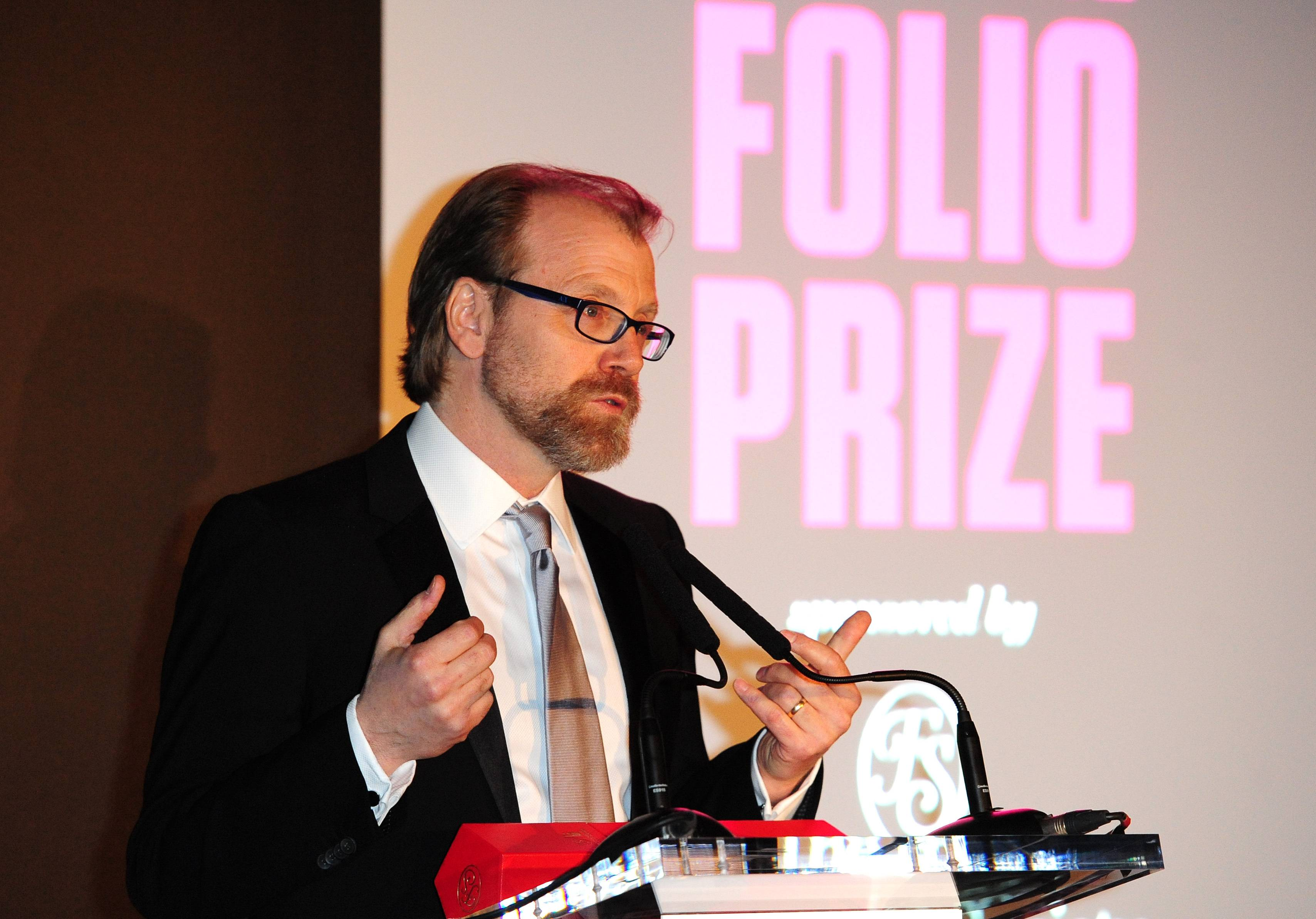 George Saunders gives a speech after winning the Folio Prize Monday in London.
