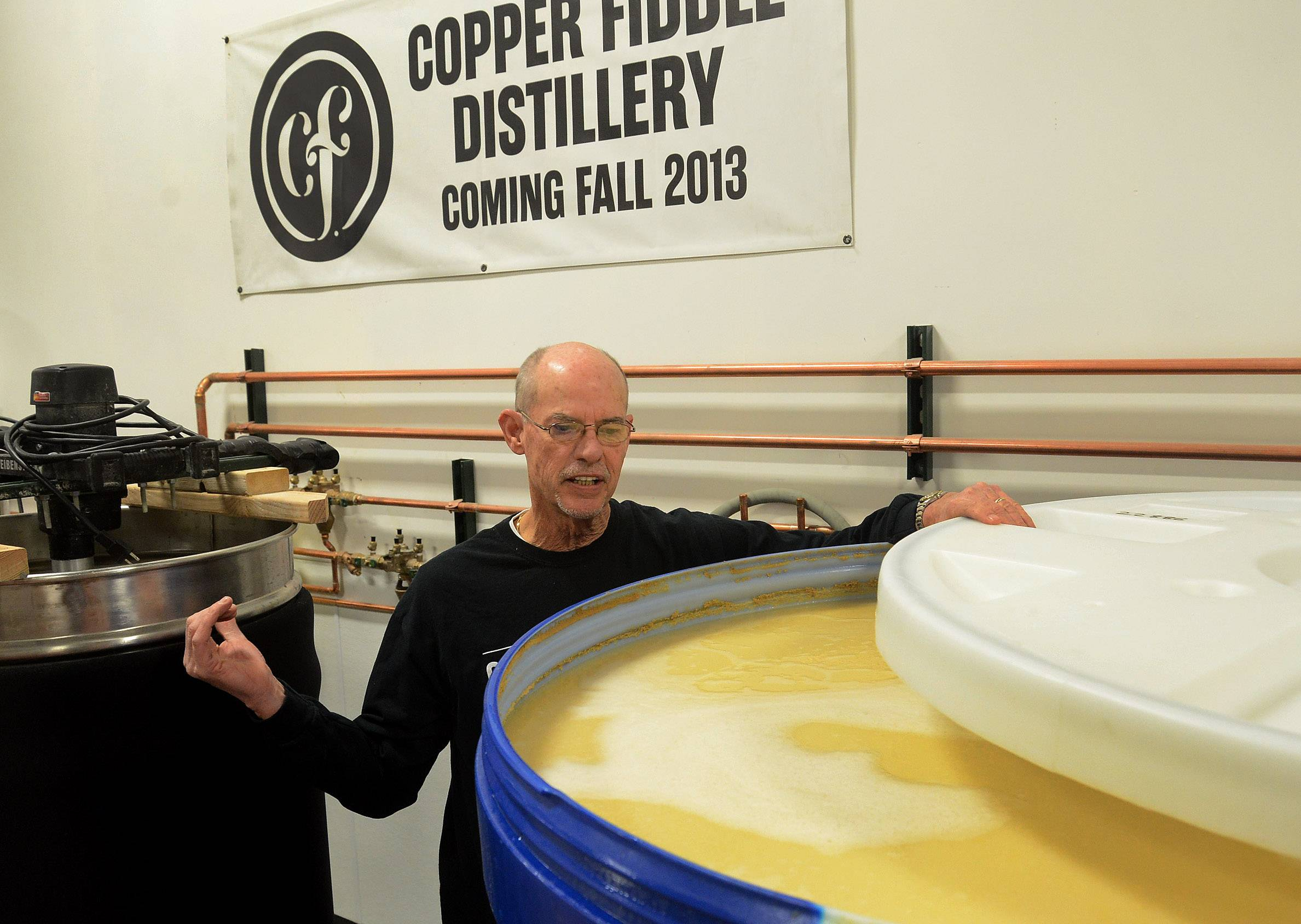 Fred Robinson, who with Jose Hernandez owns Copper Fiddle Distillery in Lake Zurich, explains the production process.