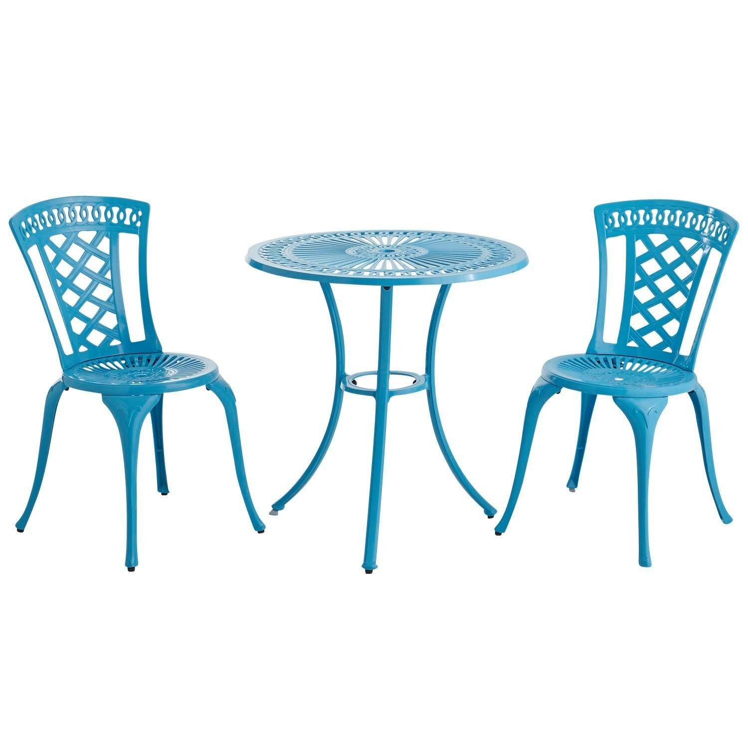 A Neely Bistro Set in a pretty blue that adds an unexpected, fun color to a patio or small balcony.