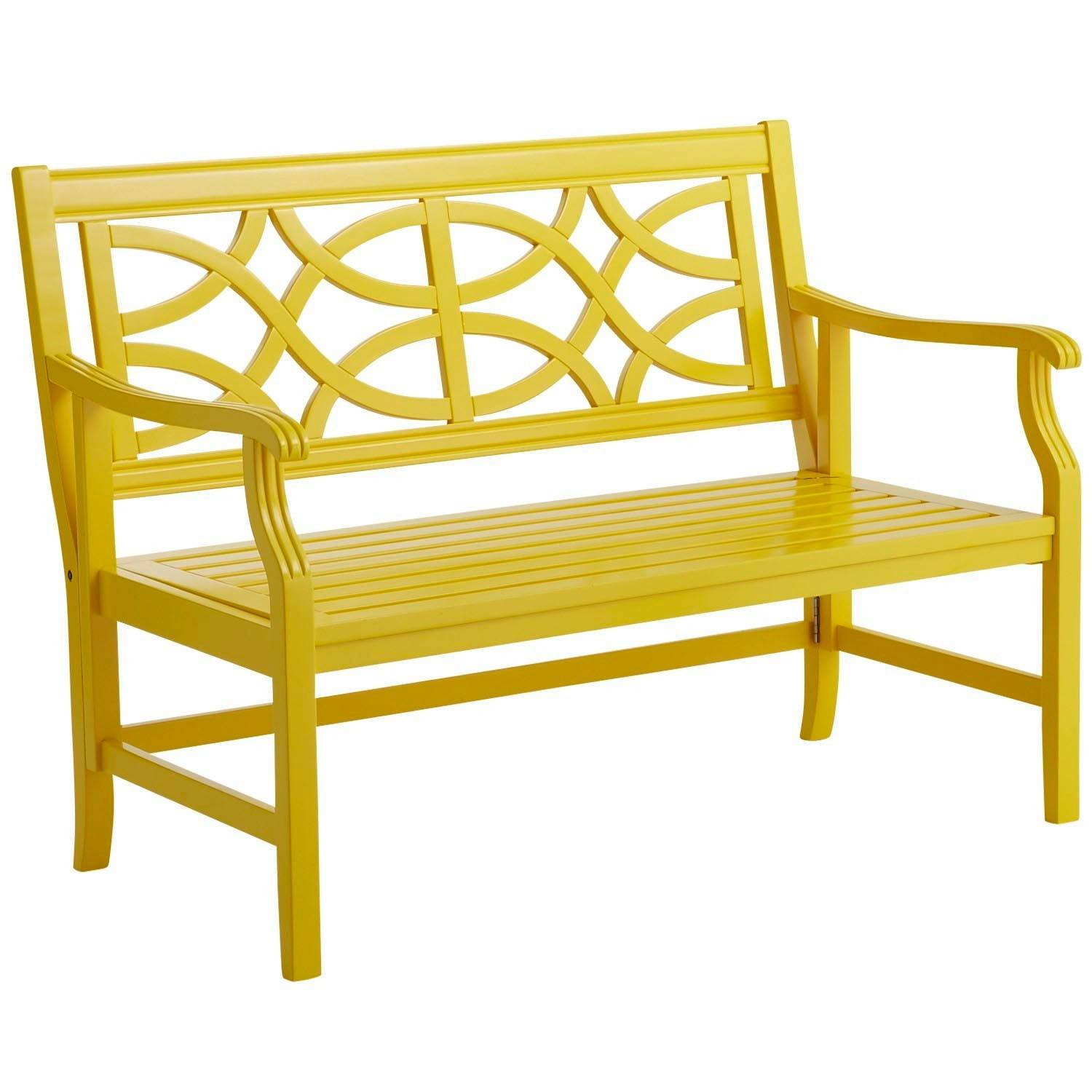 A bench in a playful hue can work well with more conservative, neutral outdoor furniture.