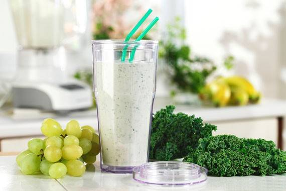 Grapes and kale add color to this Powerhouse Green Smoothie.