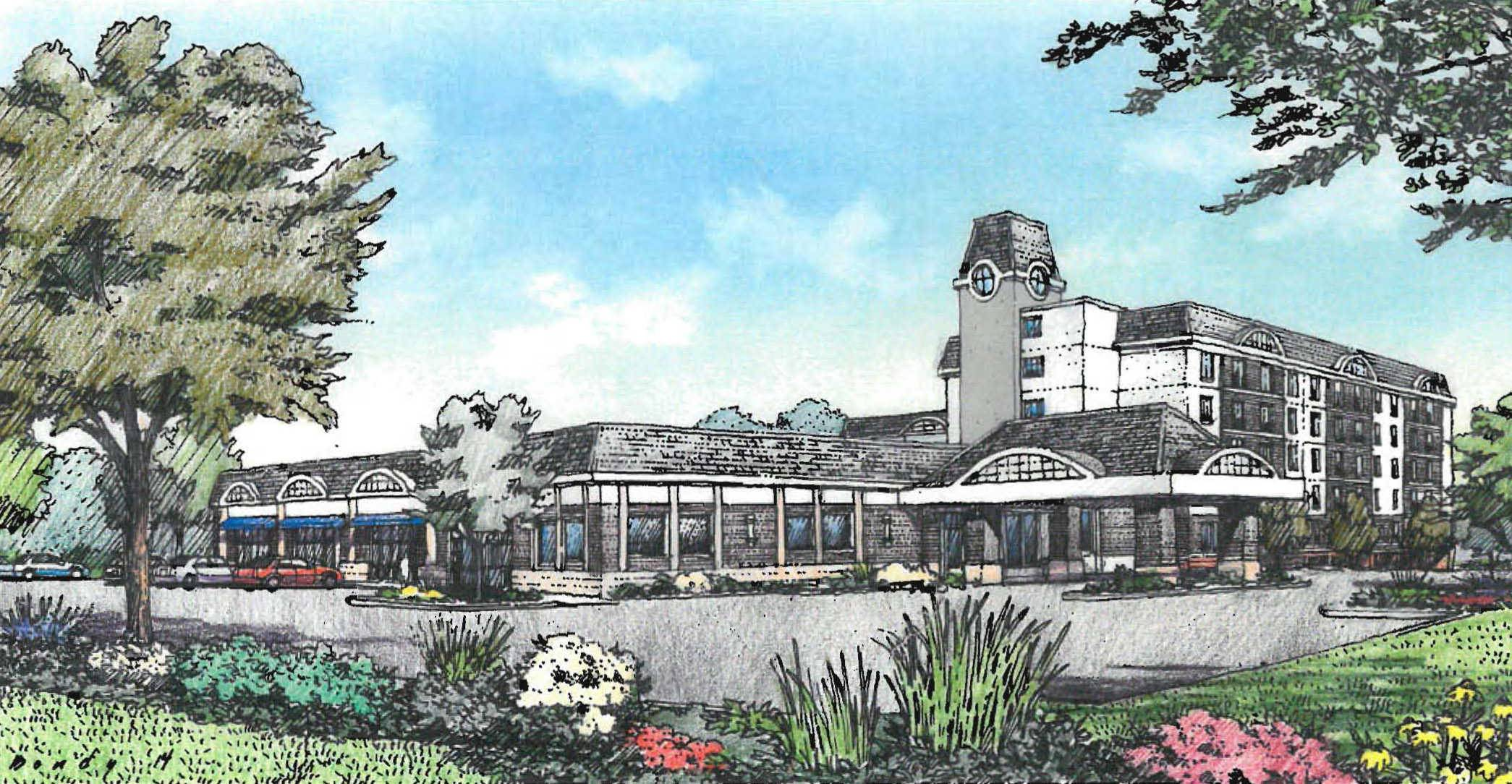 This artist's rendering shows what a new senior living center in the former Hotel Bollero building in Palatine would look like.