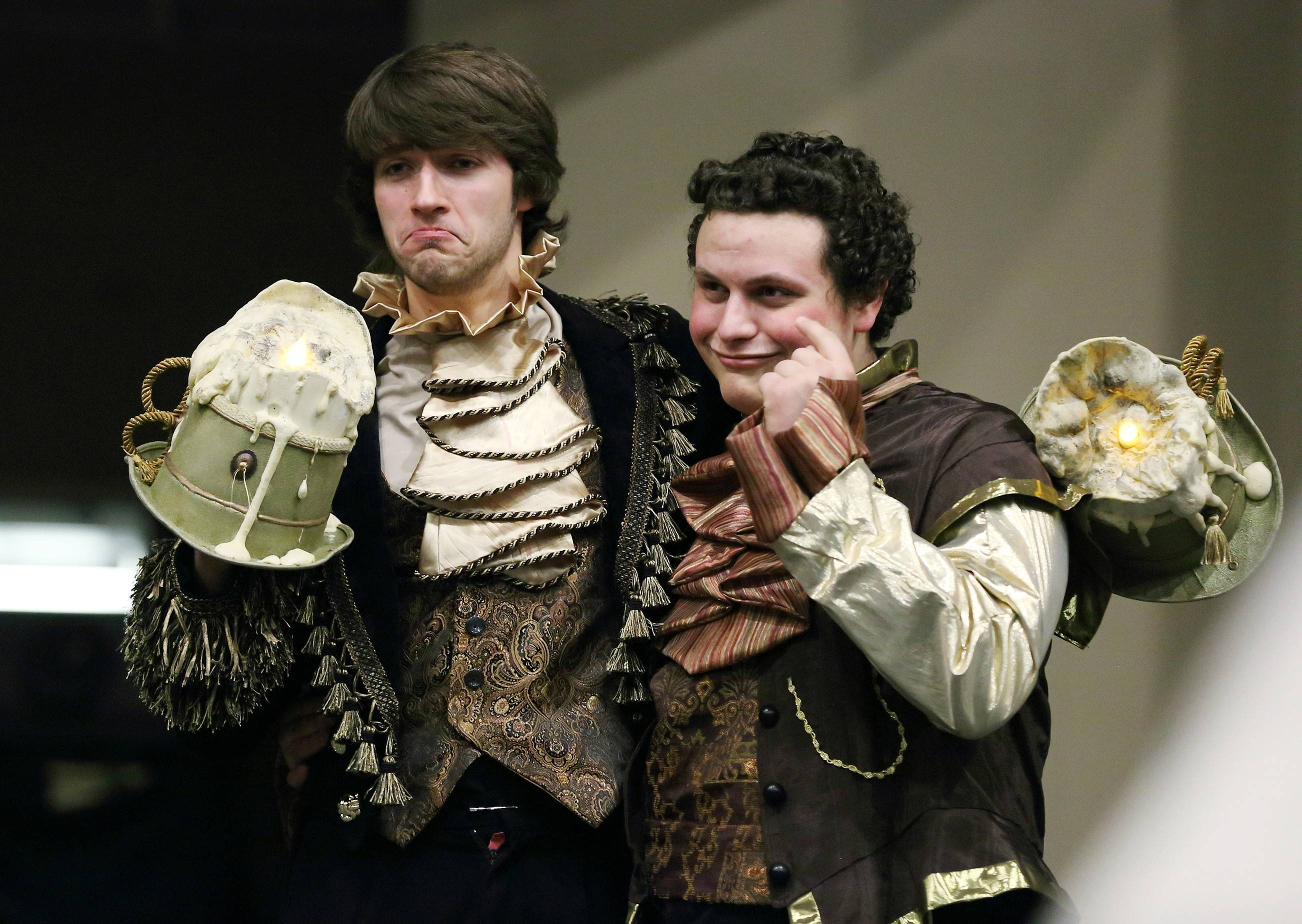 "Jacob Schott is Lumiere and Tyler Newman is Cogsworth in the production of ""Beauty and the Beast,"" which begins a three-day run Thursday at Harvest Christian Academy in Elgin."