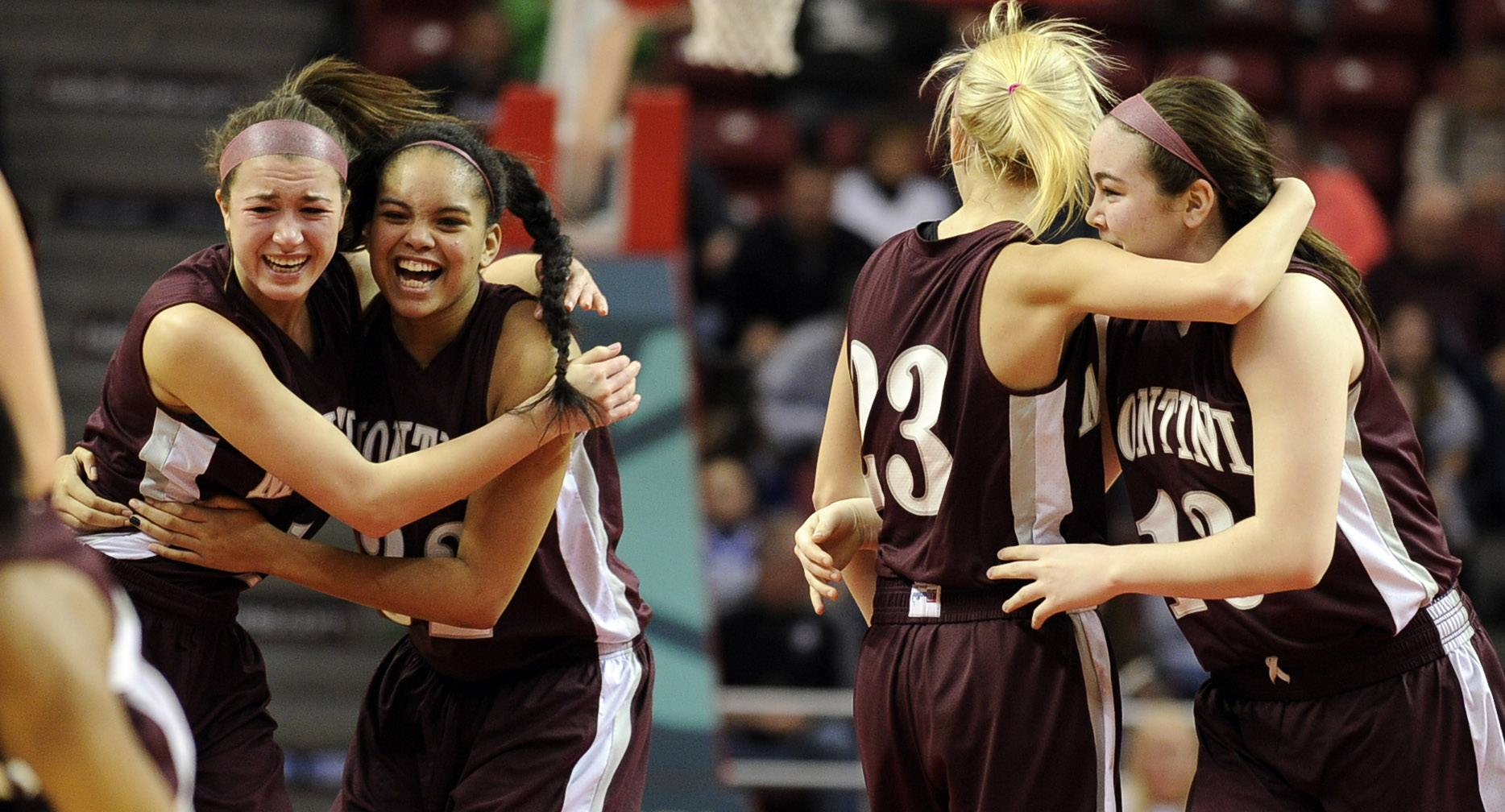 Montini player Kelsey Bogdan celebrates with Rainey Kuykendall, Lea Kerstein and Kaylee Bambule after defeating Burlington Central Friday to advance to the Class 3A state basketball championship in Normal.