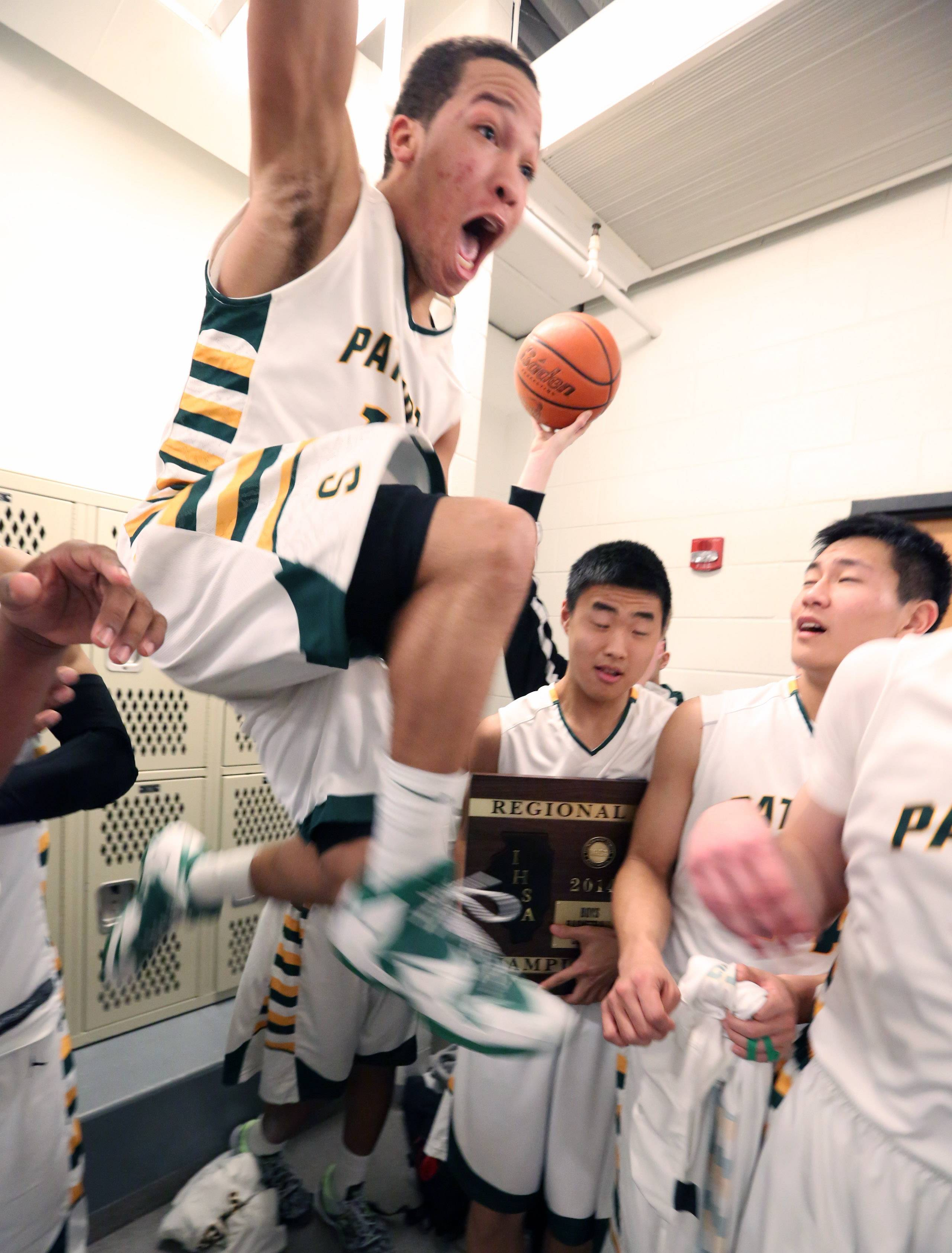 Stevenson guard Jalen Brunson celebrates his team's 79-59 win over Warren Friday at the Class 4A regional final in McHenry.