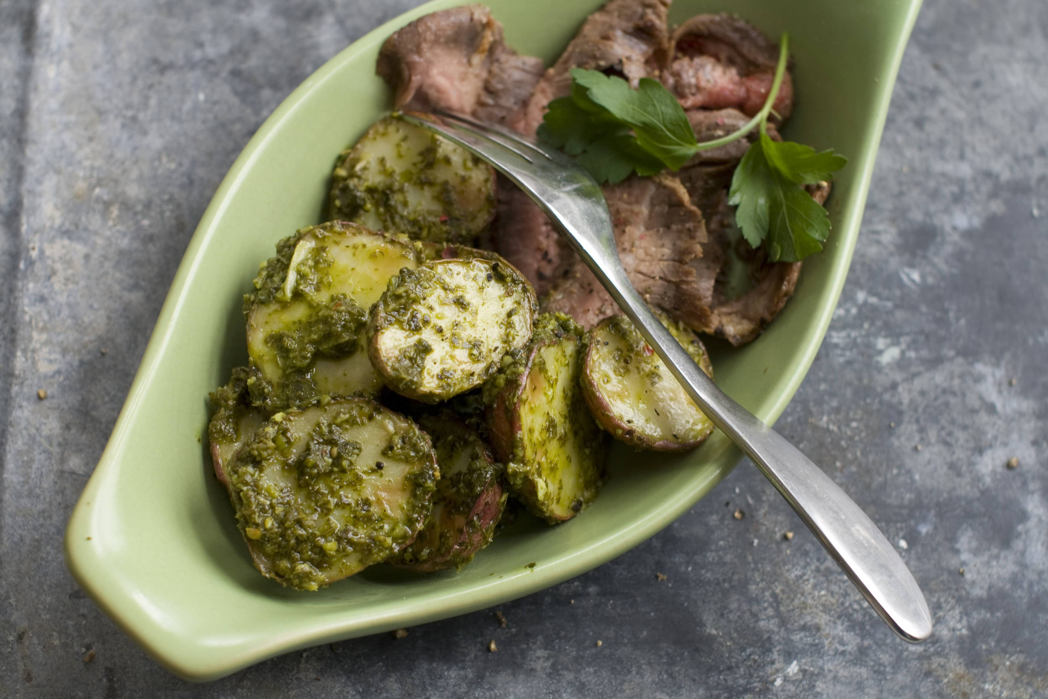 A herbaceous sauce makes roasted potatoes the perfect side for a St. Patrick's Day meal.