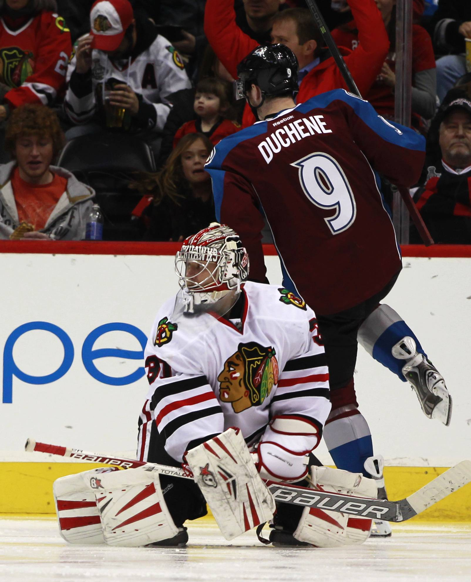 Blackhawks goalie Antti Raanta looks back after giving up a goal to Matt Duchene of the Avalanche in the second period Wednesday in Denver.