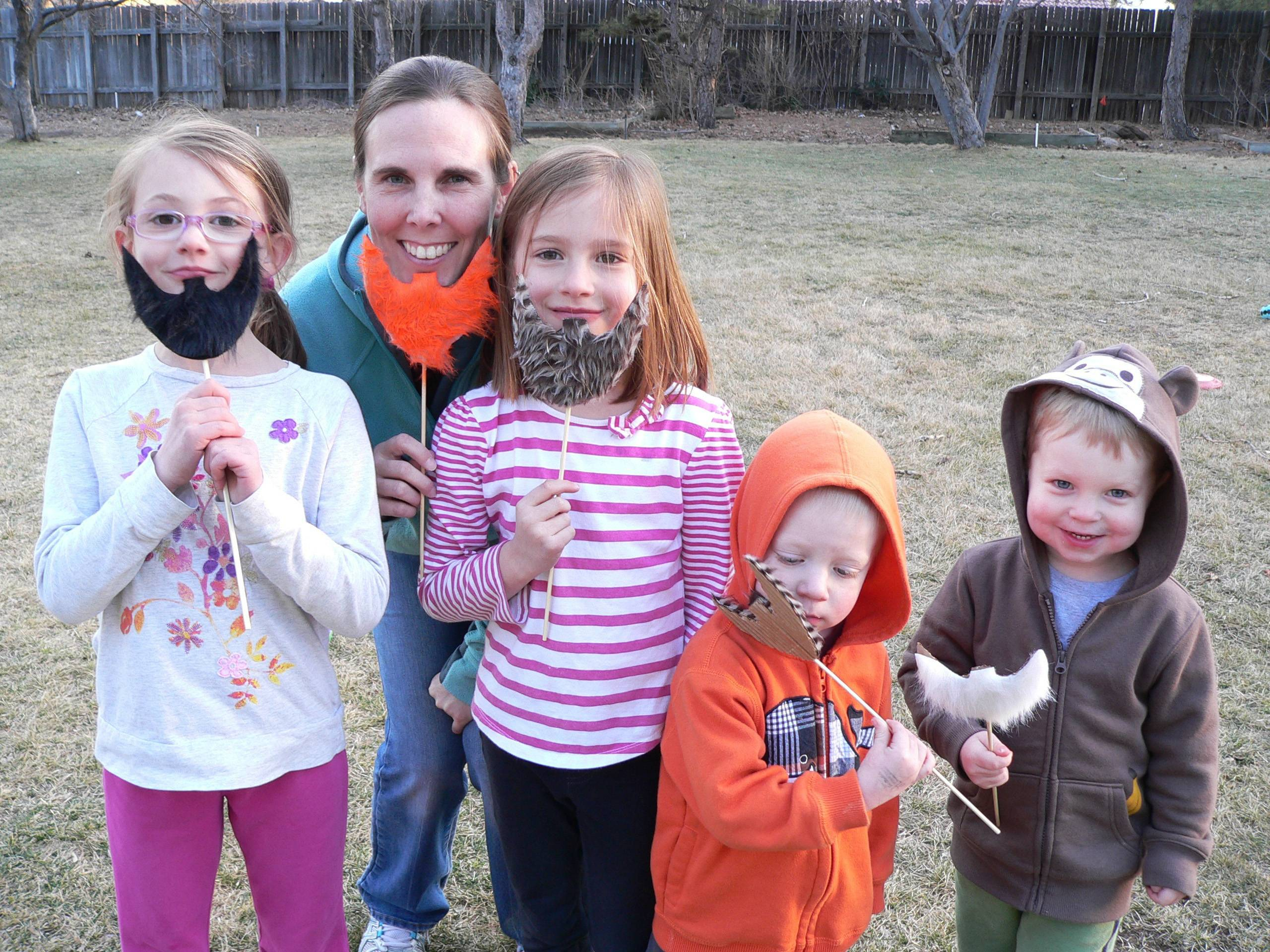 Kids can make their own leprechaun beards from faux fur and cardboard for St. Patrick's Day.