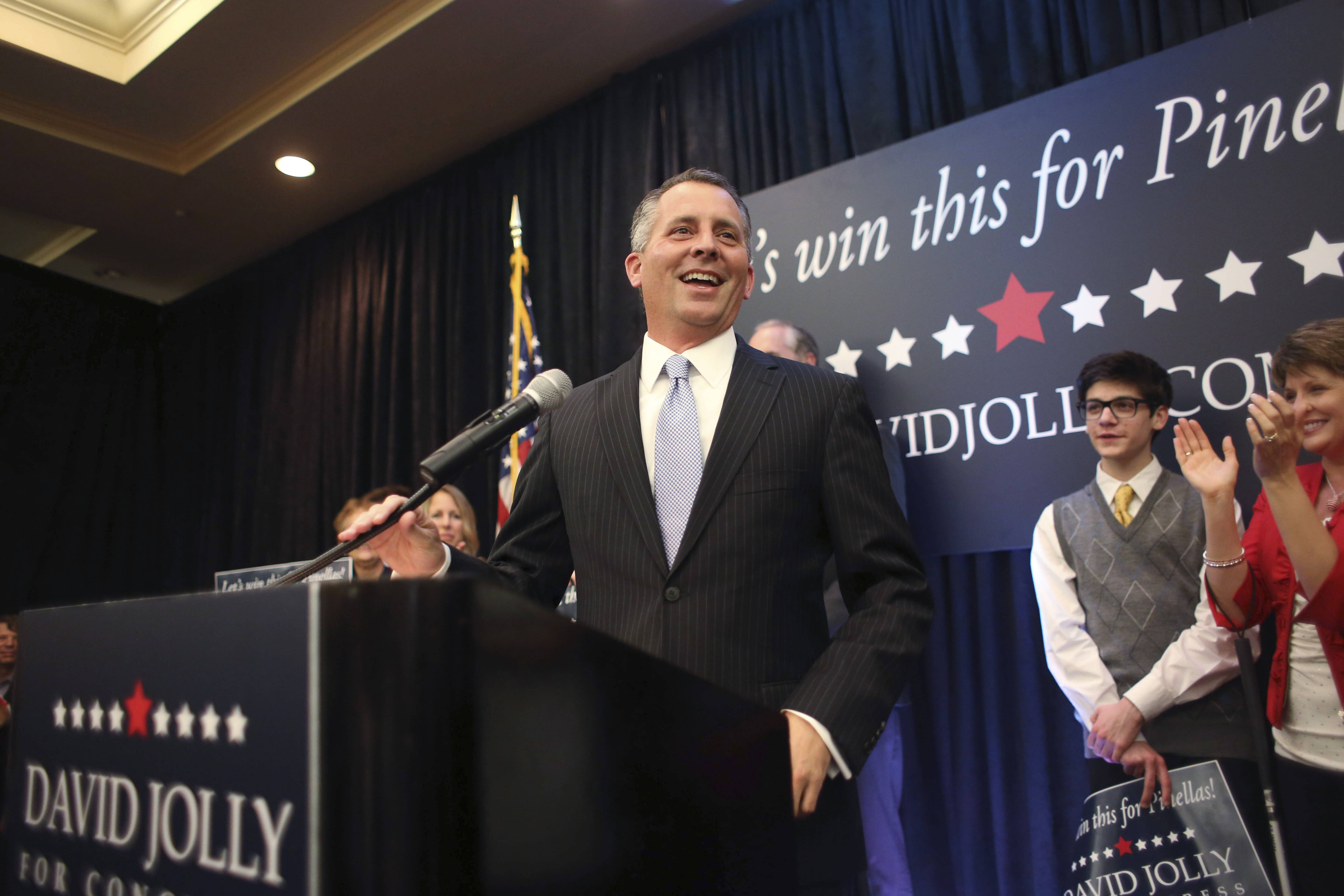 Republican David Jolly defeated Democrat Alex Sink in a special election to the U.S. House in Florida Tuesday.