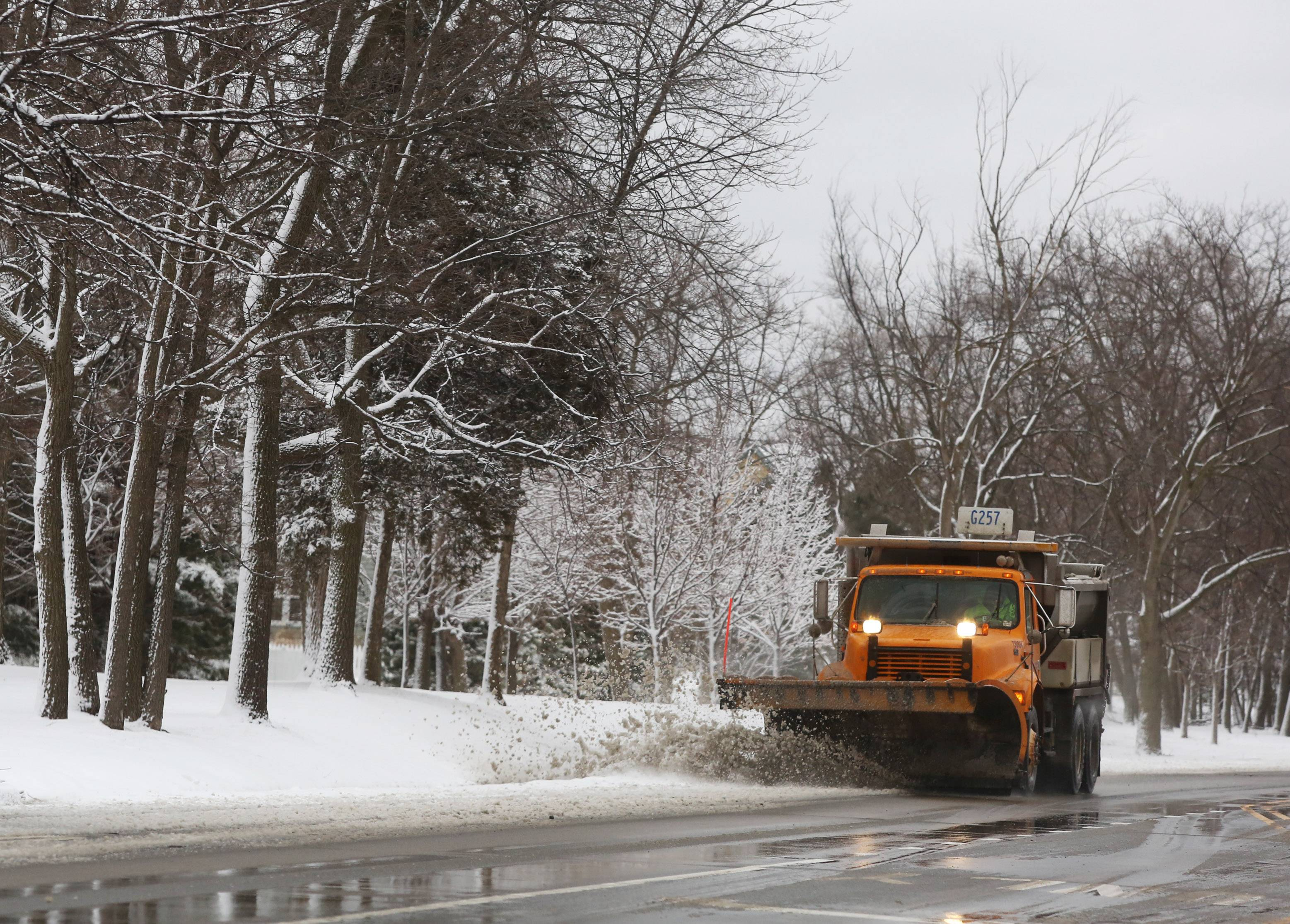 An Illinois Department of Transportation snowplow clears Route 45 in Vernon Hills as area residents woke up to snow-covered streets Wednesday morning in Lake County. The additional snow makes this the third snowiest winter on record.