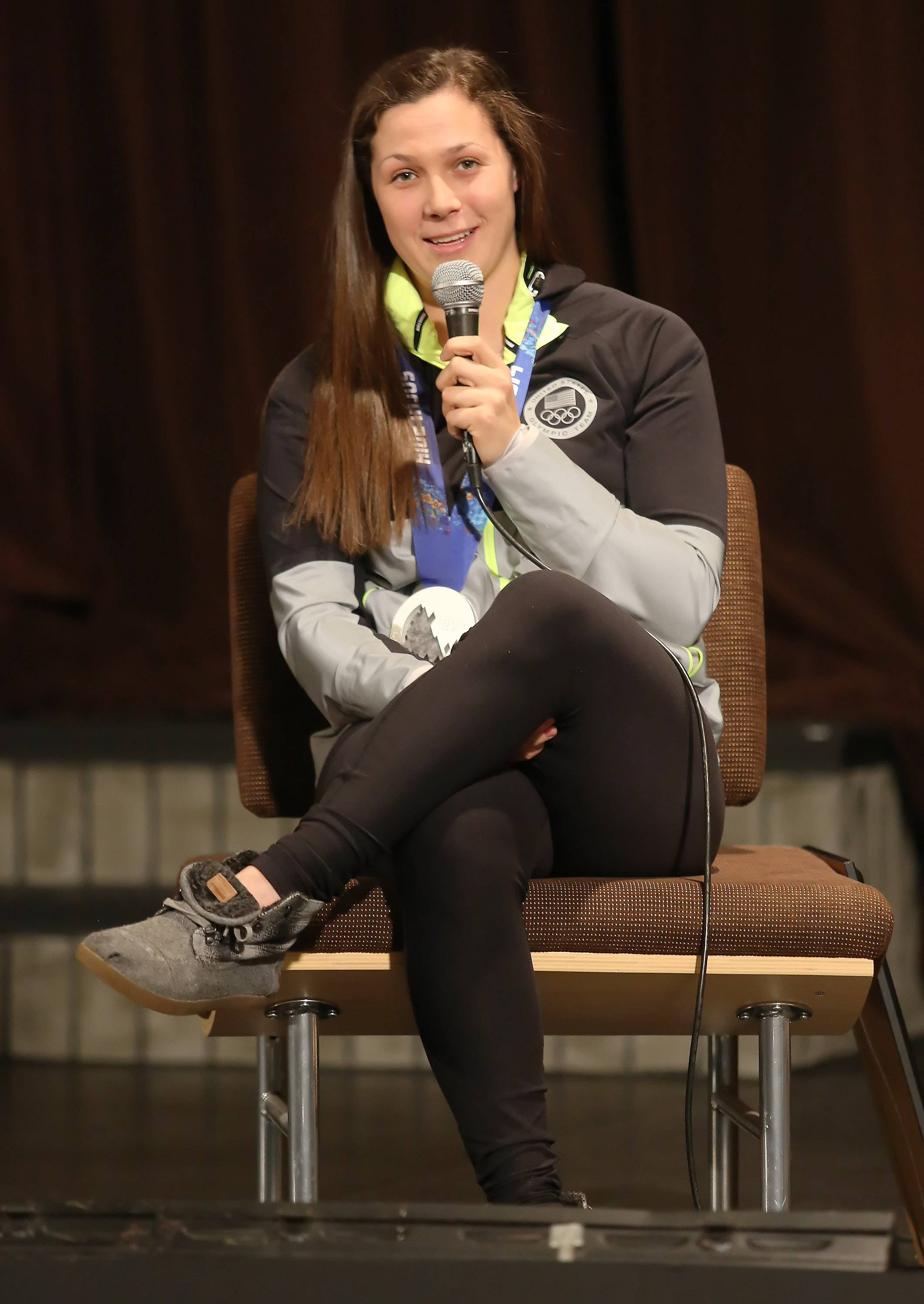 Olympic silver medalist Megan Bozek met with students and teachers Wednesday at Stevenson High School in Lincolnshire. The Stevenson graduate was a member of the U.S. women's ice hockey team in the 2014 Sochi Winter Olympics.