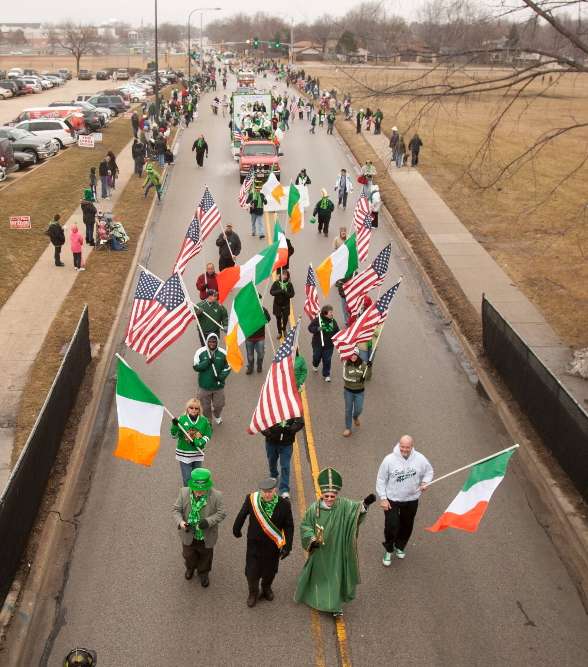 The Naperville's St. Patrick's Day parade starts at 10 a.m. Saturday, March 15, at Naperville North High School and marches south on Mill Street into downtown. This year's parade is expected to have about 90 units.