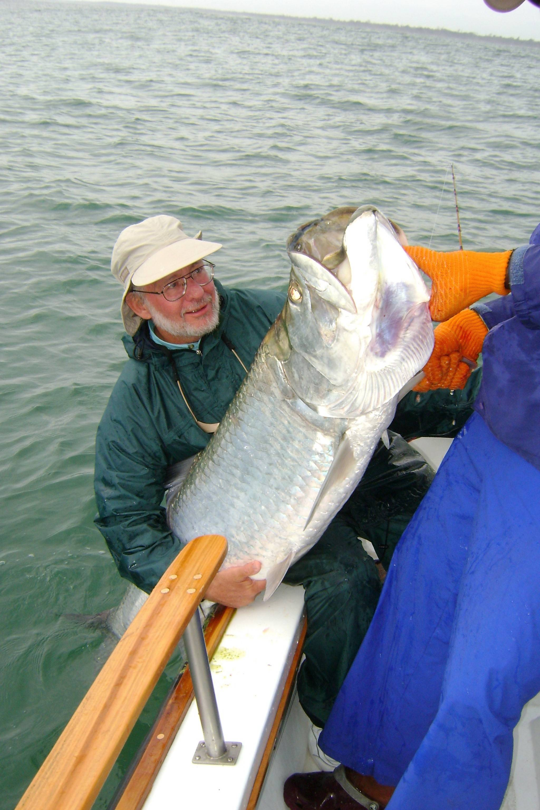 This 145-pound tarpon caught in Costa Rica certainly was a big challenge for Mike Seeling to land and control.