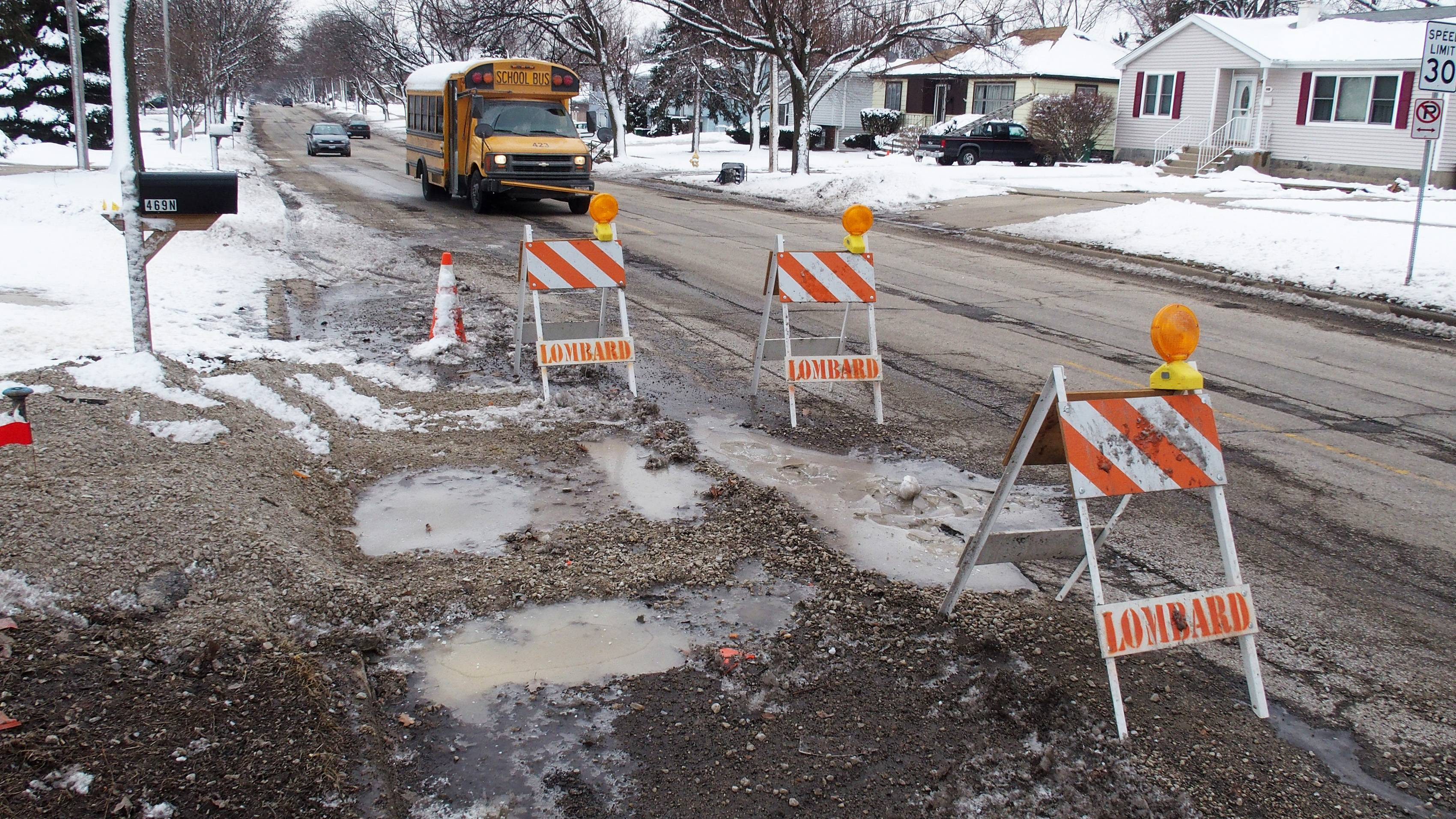 Lombard's public works department has received a significant number of phone calls this winter from residents concerned about the potholes on Grace Street, including these near Berkshire Avenue.