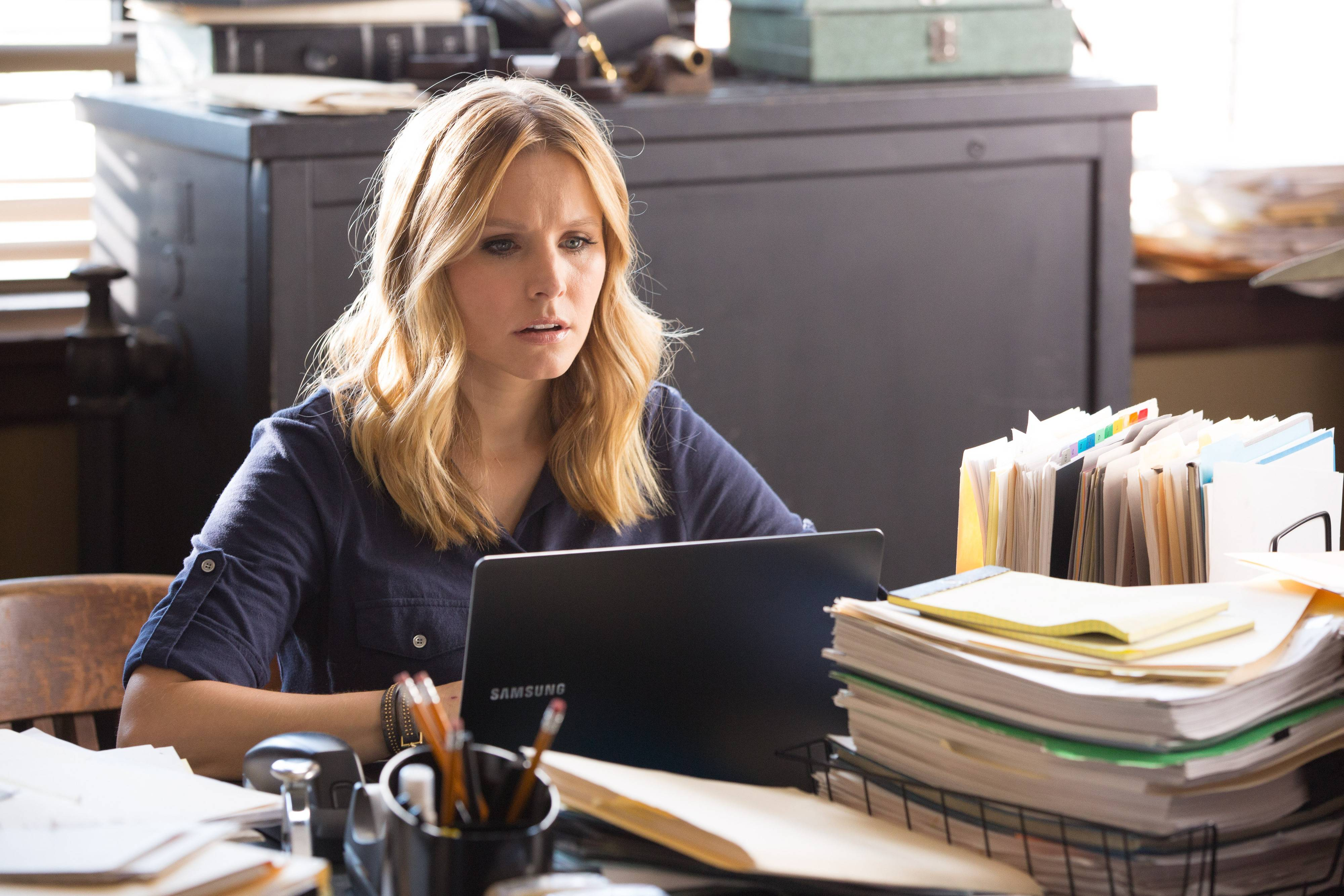 "Sleuth-turned-lawyer Veronica (Kristen Bell) heads home to help solve a mystery in the film ""Veronica Mars,"" set years after the TV series left off."