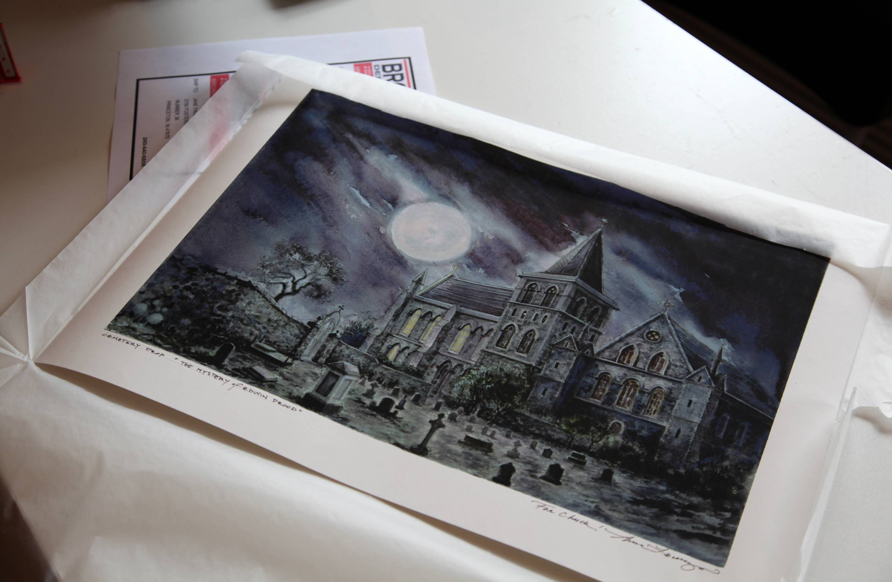 "A print of a watercolor rendering by Anna Louizos for the ""The Mystery of Edwin Drood"" is one of the items for sale on the Broadway Design Exchange, a website that allows designers to sell some of their work online."