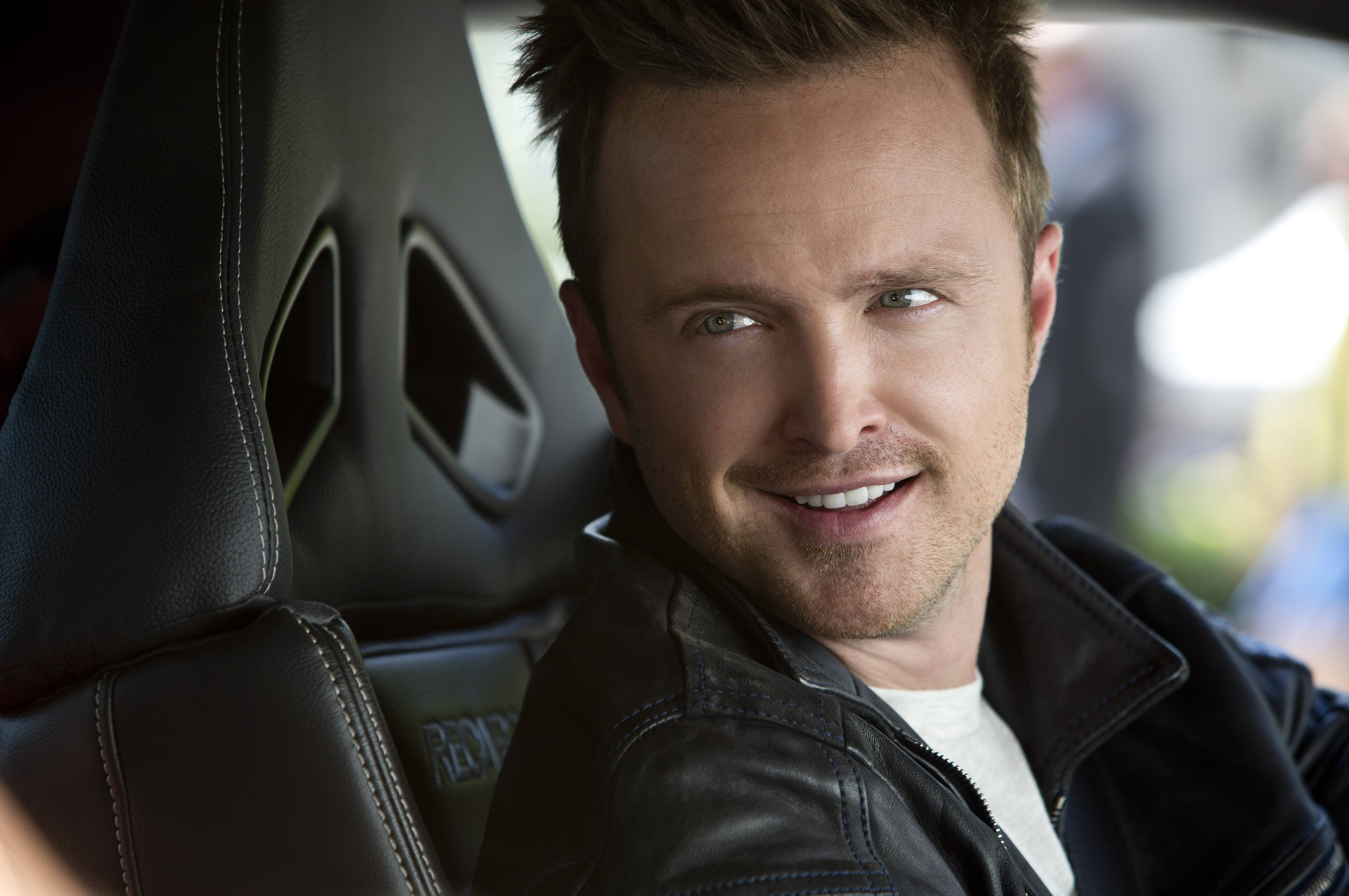 "Mechanic and race driver Tobey Marshall (Aaron Paul) heads to California for a high-stakes race in ""Need for Speed."""