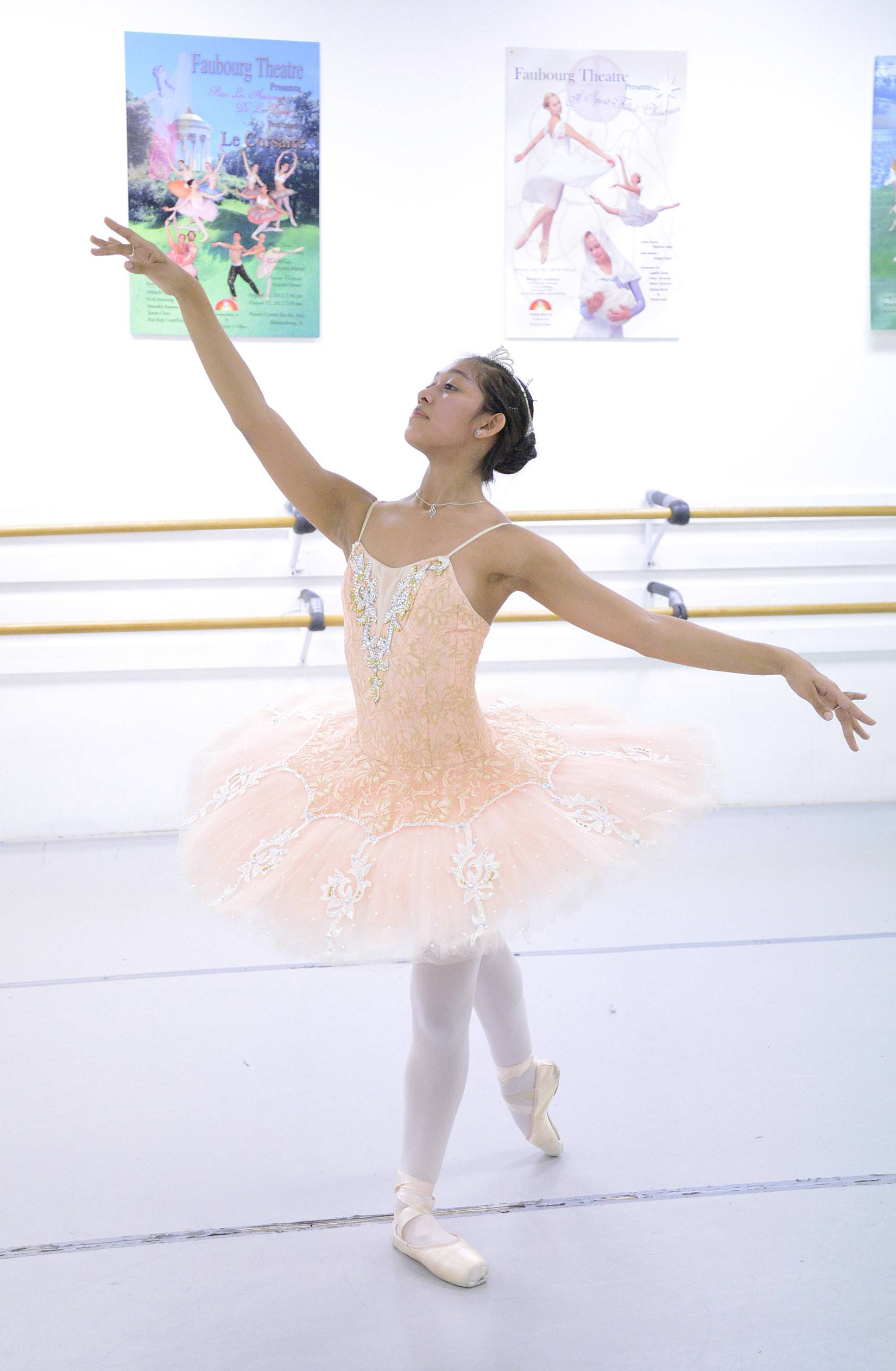 Dancer Jasmine Getz of Sleepy Hollow practices at Faubourg School of Ballet in Hanover Park. Getz won two gold medals at the International Dance Organization's world championships held in December in Poland.