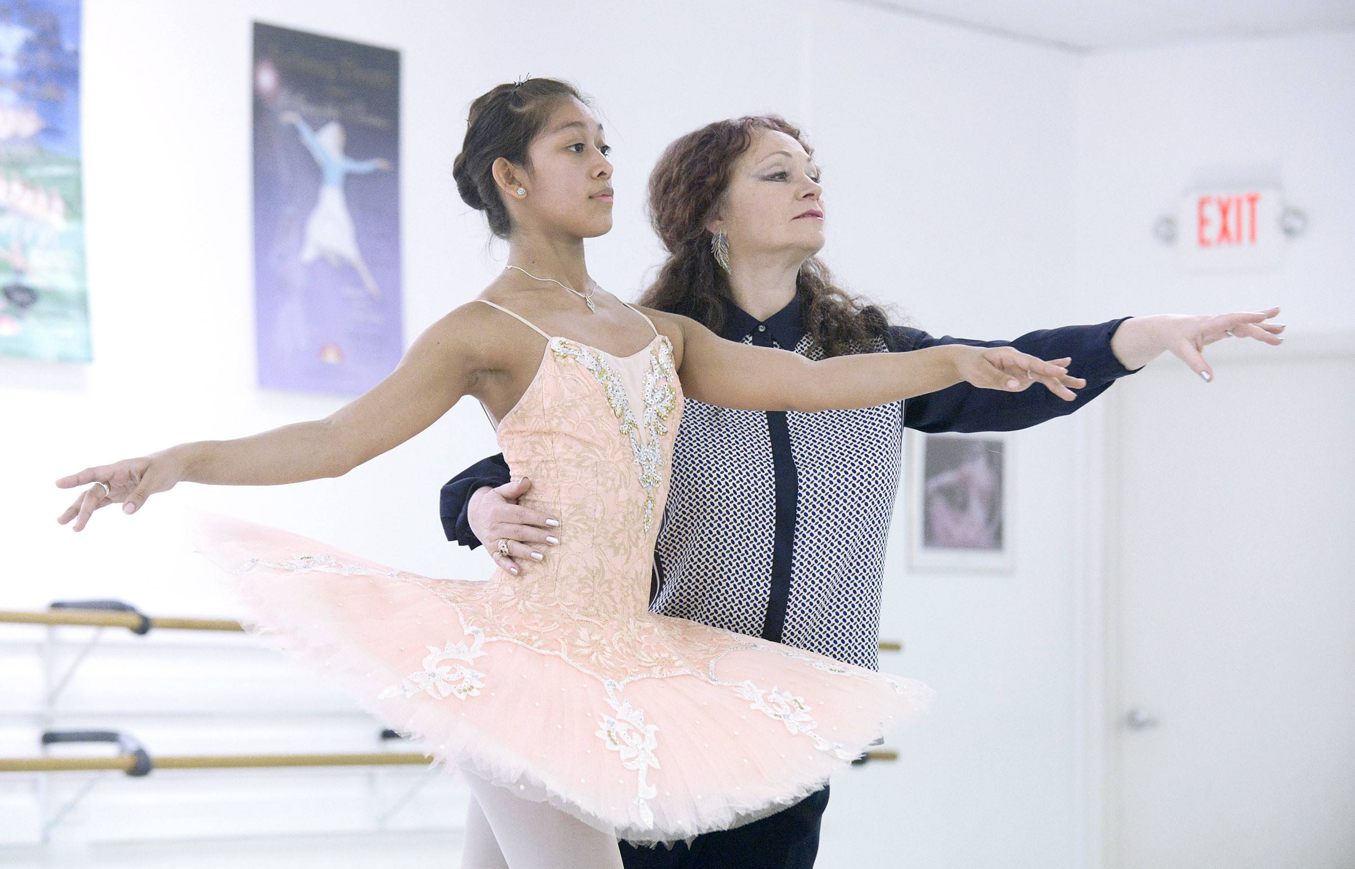 Dancer Jasmine Getz of Sleepy Hollow, a student at Hampshire High School, with her ballet instructor, Tatyana Mazur, at the Faubourg School of Ballet in Hanover Park. Mazur says Jasmine's work ethic and natural ability make her a special dancer.
