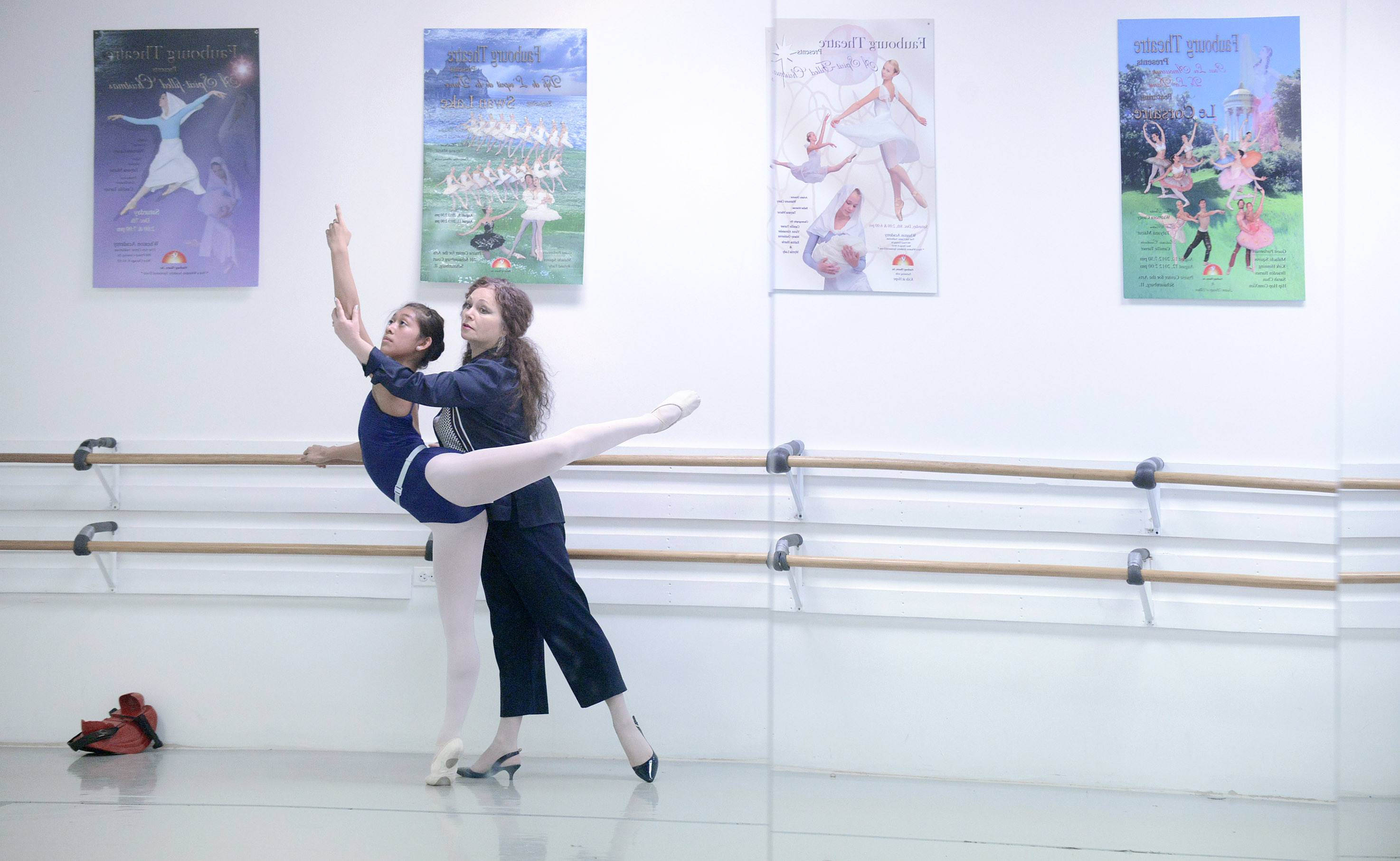 Dancer Jasmine Getz of Sleepy Hollow, a student at Hampshire High School, with her ballet instructor, Tatyana Mazur, at the Faubourg School of Ballet in Hanover Park.