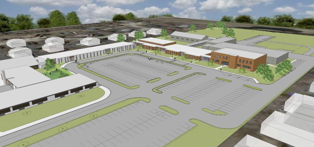 This artist's rendering shows Schaumburg Township Elementary District 54's renovated administrative campus on Schaumburg Road, with the new Early Childhood Center on the left and the expanded administration building on the right.