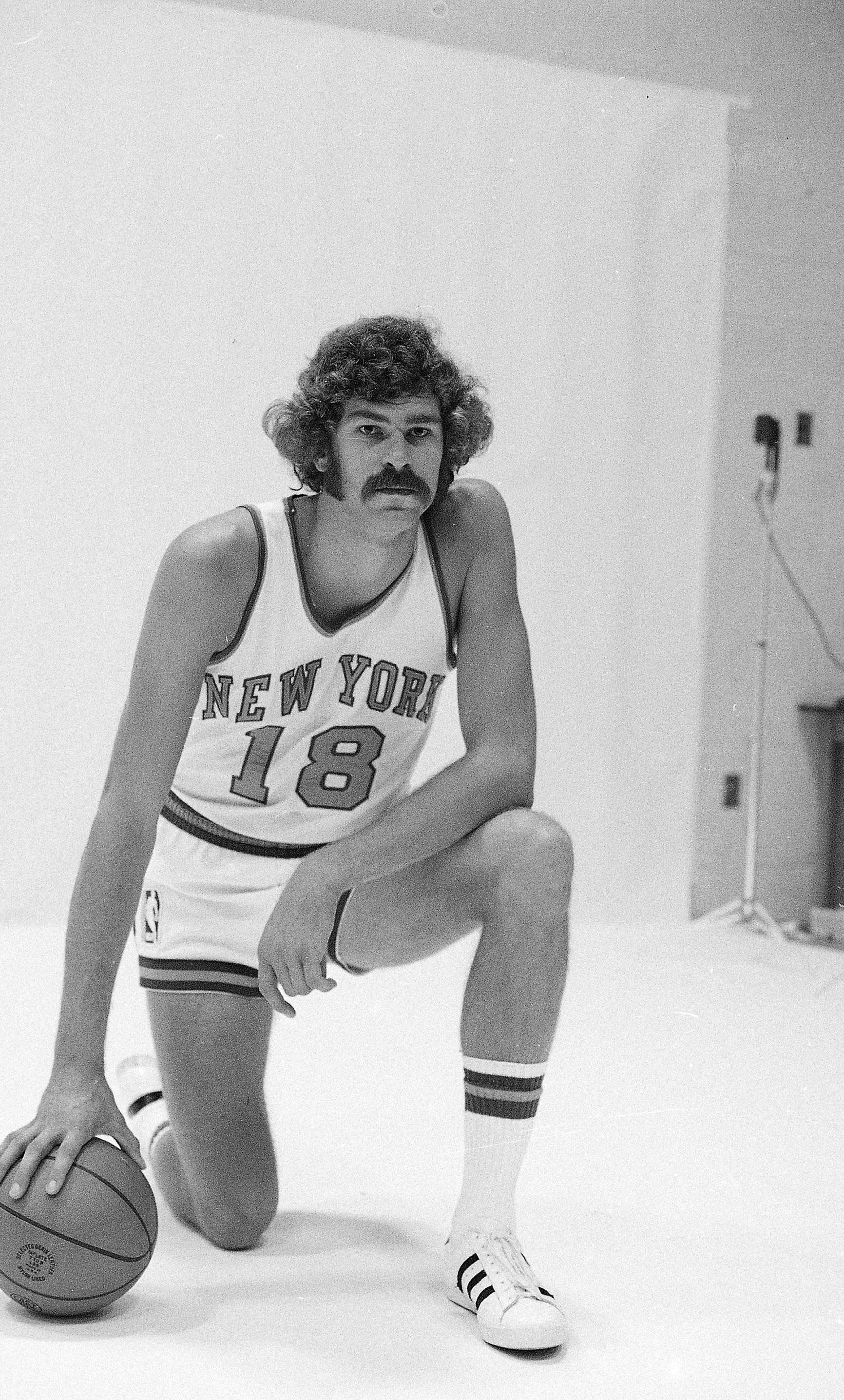"FILE - In this 1971, file photo, New York Knicks' Phil Jackson poses for a photo. Jackson will be introduced as the newest member of the New York Knicks' front office Tuesday morning, according to a person familiar with the negotiations between the 11-time champion coach and the team. The person spoke on condition of anonymity on Friday, March 14, 2014, because the Knicks would only confirm that a ""major announcement"" involving team executives was scheduled. (AP Photo/File)"