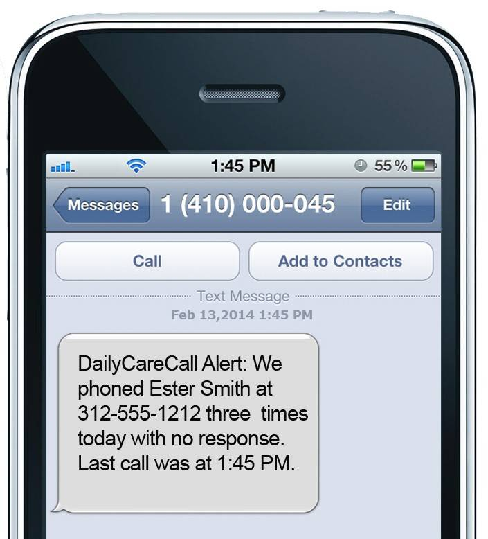 This is a screen shot of what the Daily Care Call alert looks like on a smartphone.