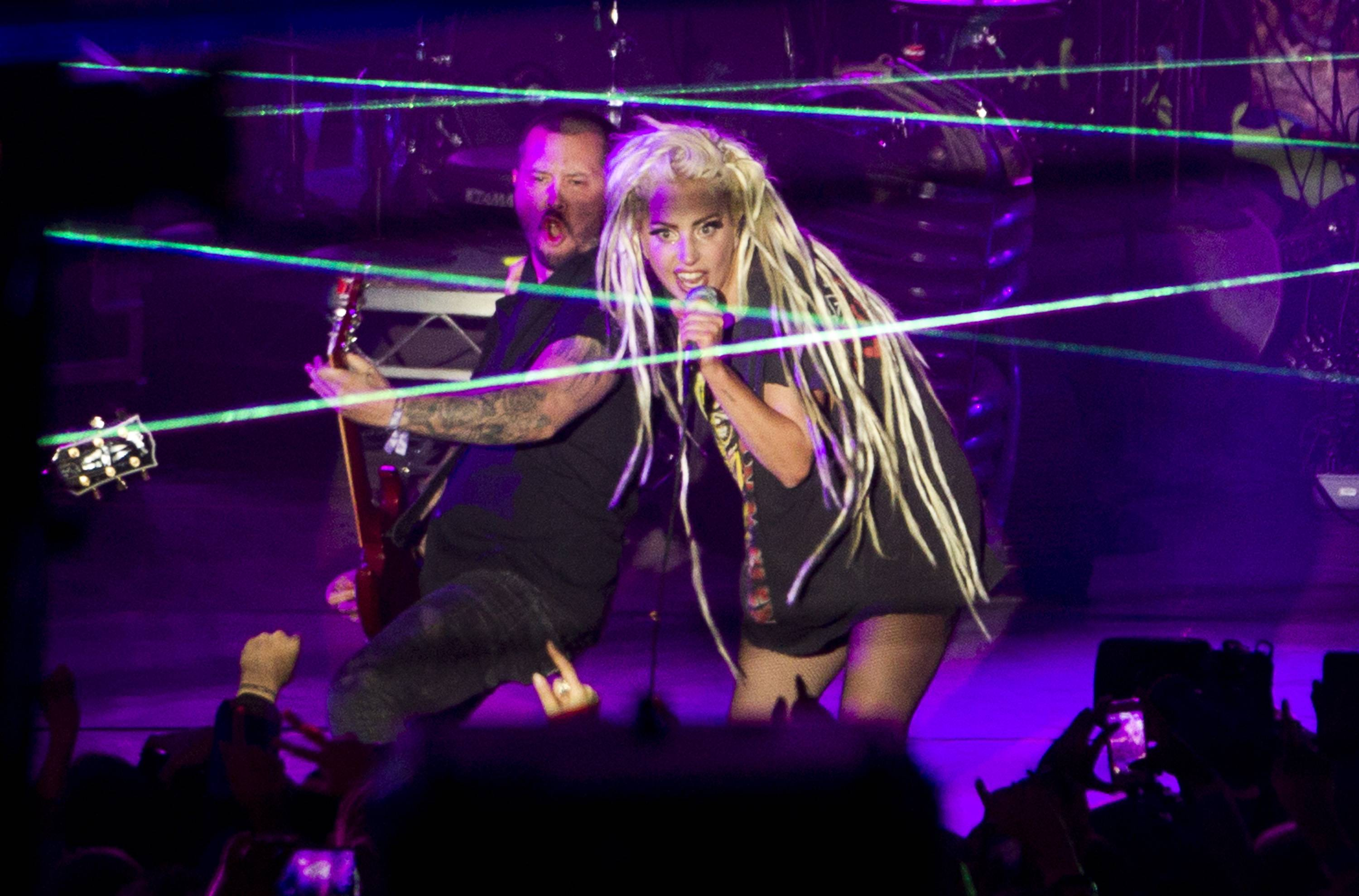 Lady Gaga performs at Stubb's in Austin, Texas, during the South by Southwest Music Festival on Thursday March 13, 2014.