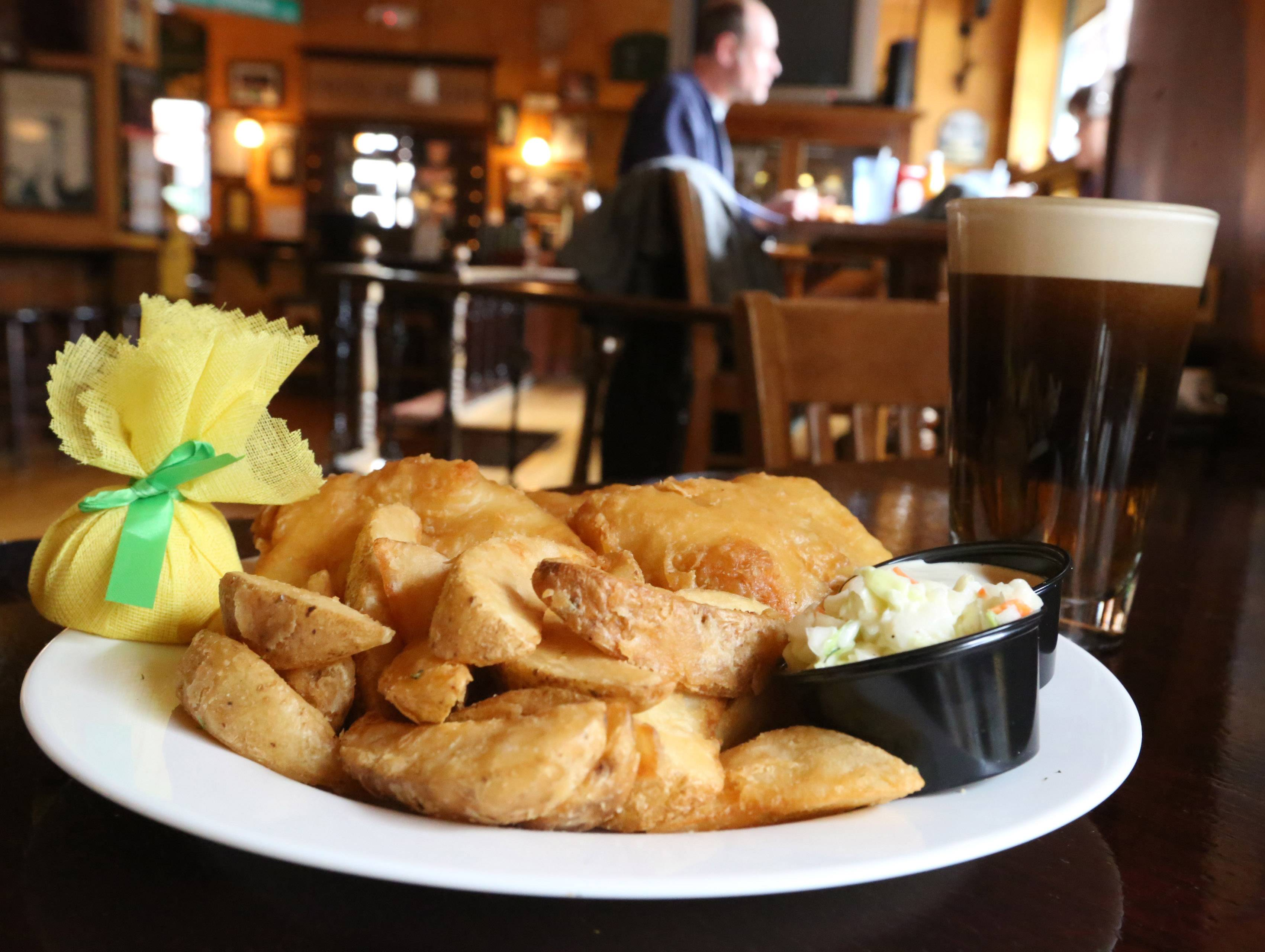 Dig in to some fish and chips with a half and half beer (half Harps and half Guinness) at the St. Patrick's Day celebration at Peggy Kinnane's Irish Restaurant and Pub in Arlington Heights.