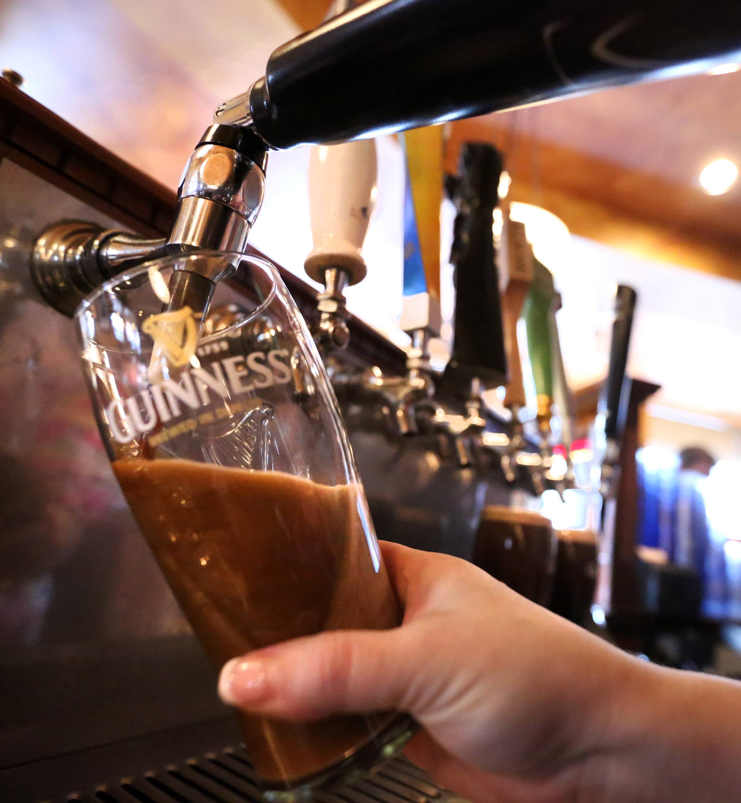Guinness beer is a popular option for St. Patrick's Day at Peggy Kinnane's Irish Restaurant and Pub in Arlington Heights.
