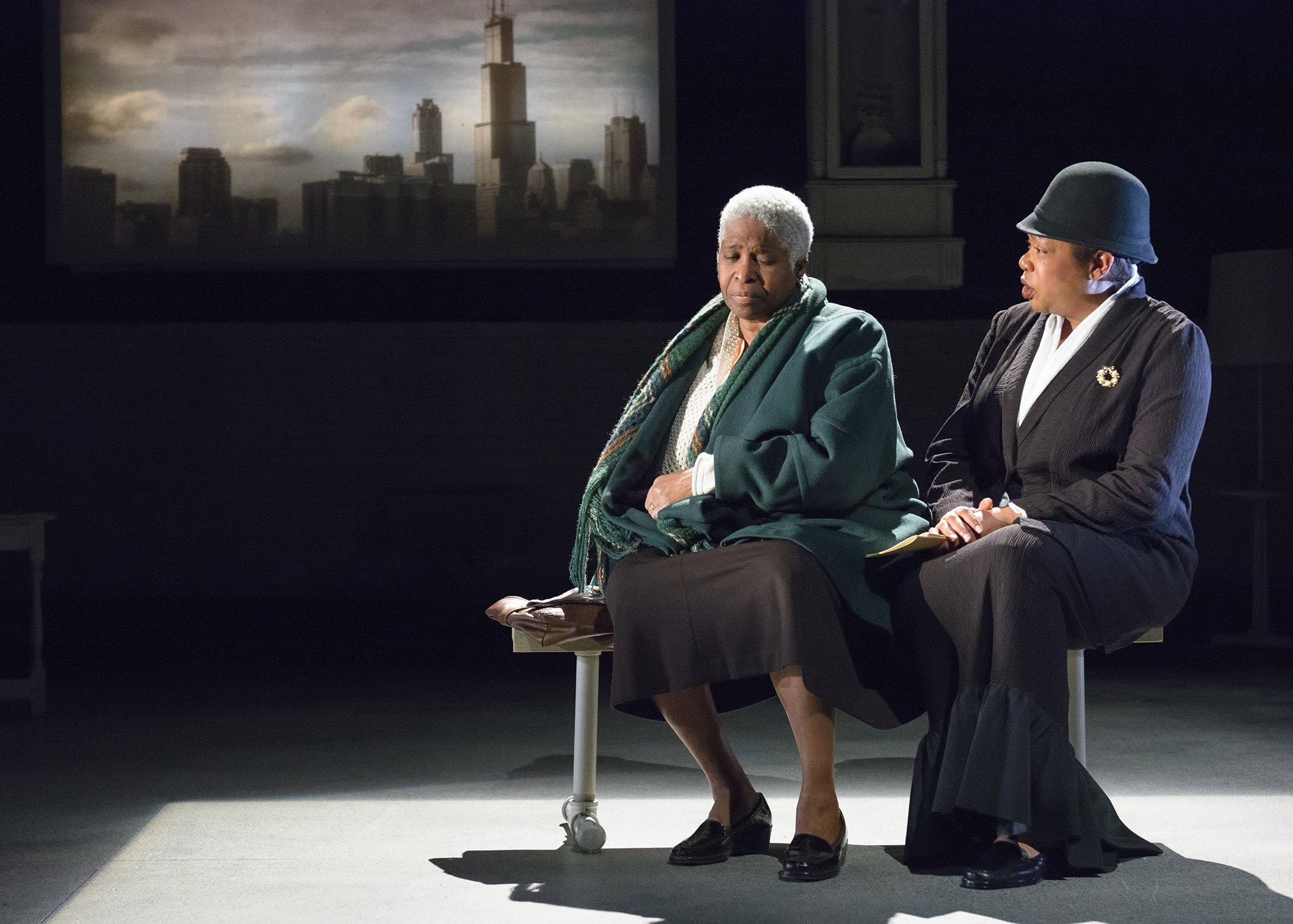"Cheryl Lynn Bruce, left, plays a Chicago mother grieving the loss of her son to street violence and Jacqueline Williams stars as the 152-year-old Ida B. Wells in Marcus Gardley's ""The Gospel of Lovingkindness"" at Victory Gardens Theater."