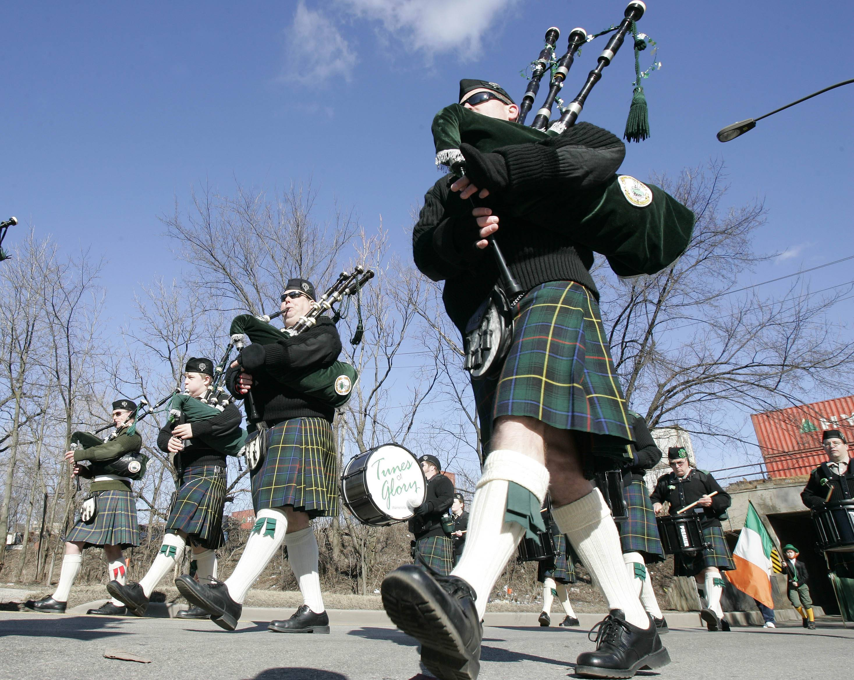 Bagpipers abound during St. Patrick's Day parades in the suburbs.