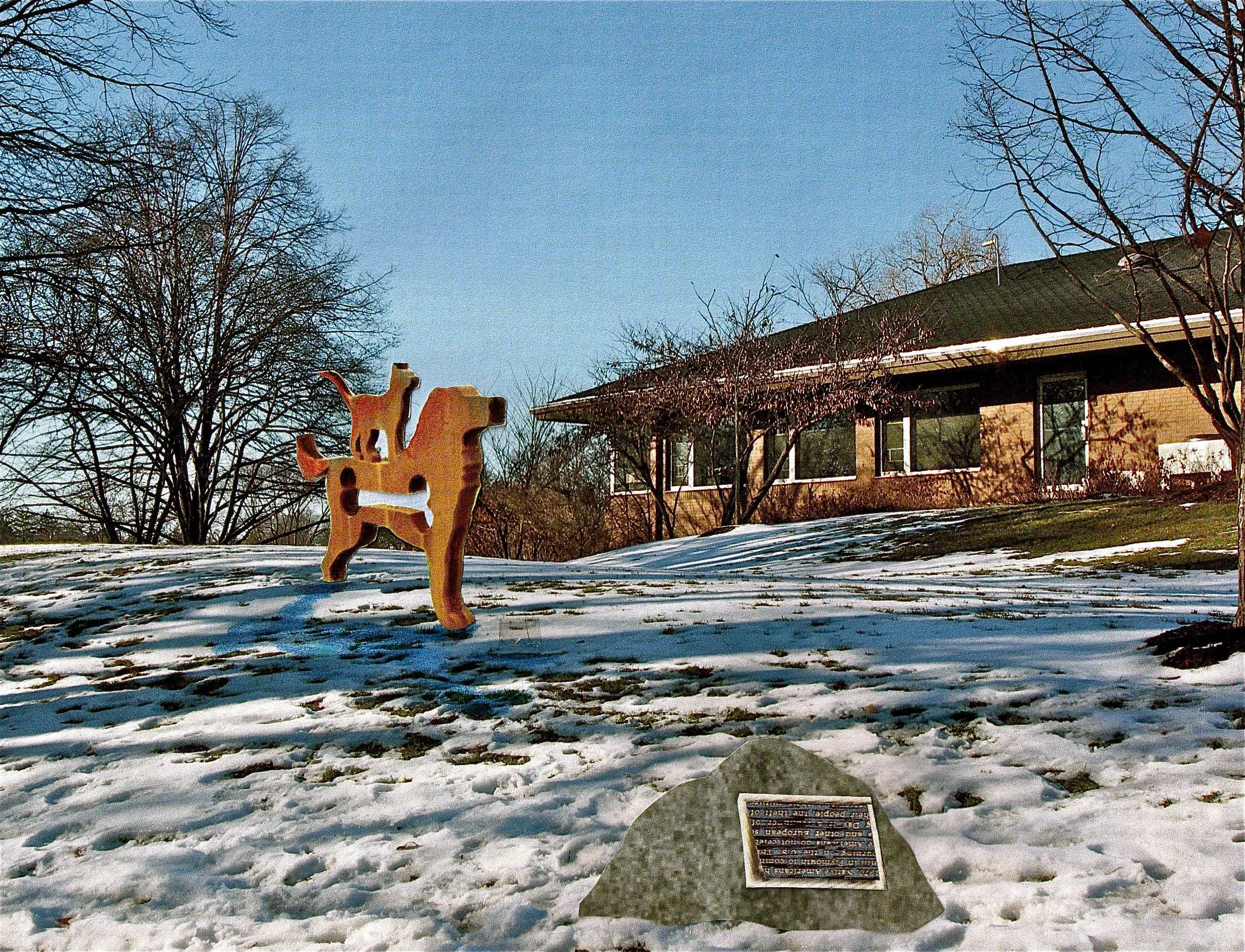 This rendering shows where a sculpture of a dog and cat commissioned to mark the 35th anniversary of the Naperville Area Humane Society will be installed this summer or fall between the Naperville Park District administration building and Centennial Beach.