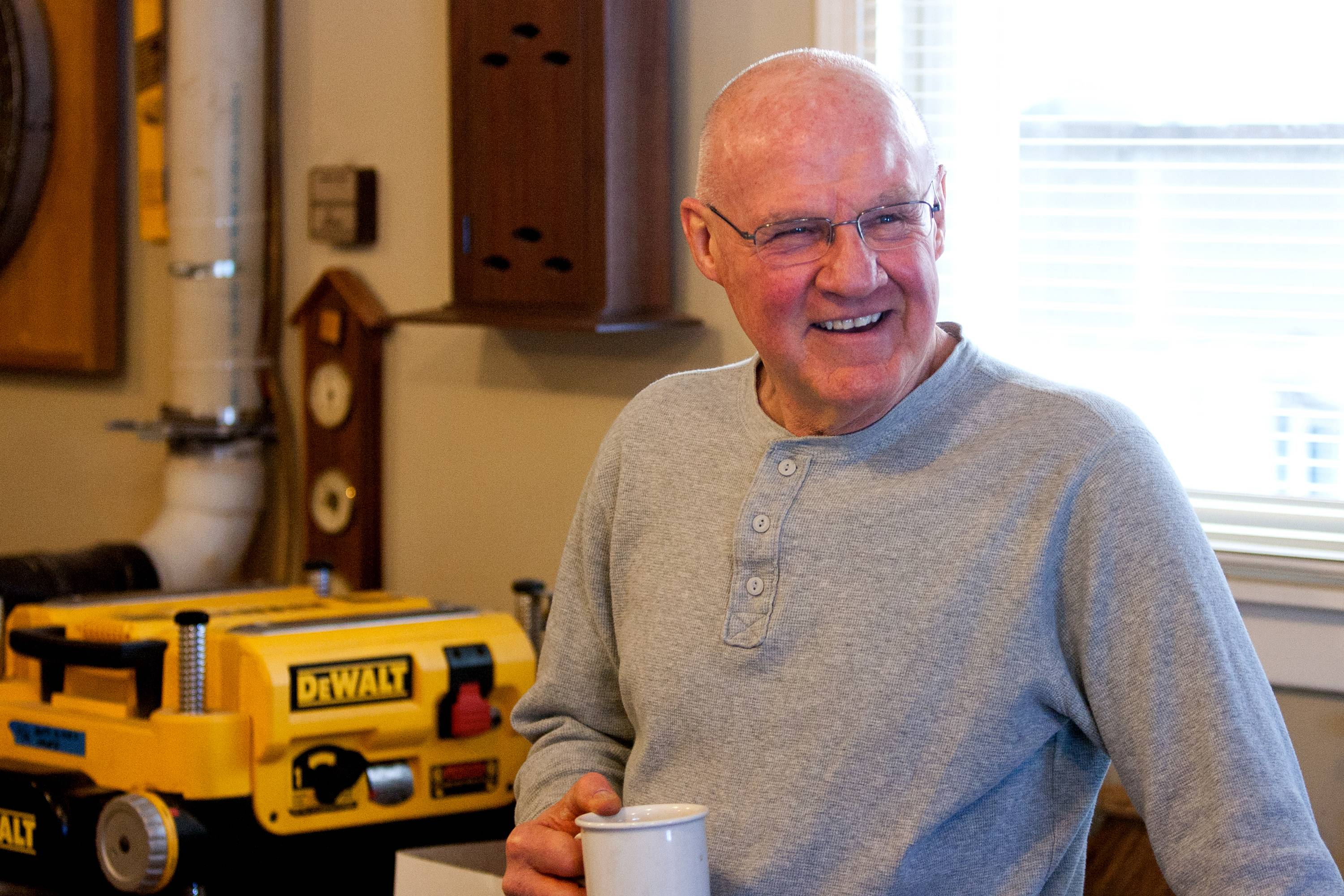 Wayne Maier, 67, of Glen Ellyn enjoys his woodworking hobby, which always includes relaxing with a cup of coffee.