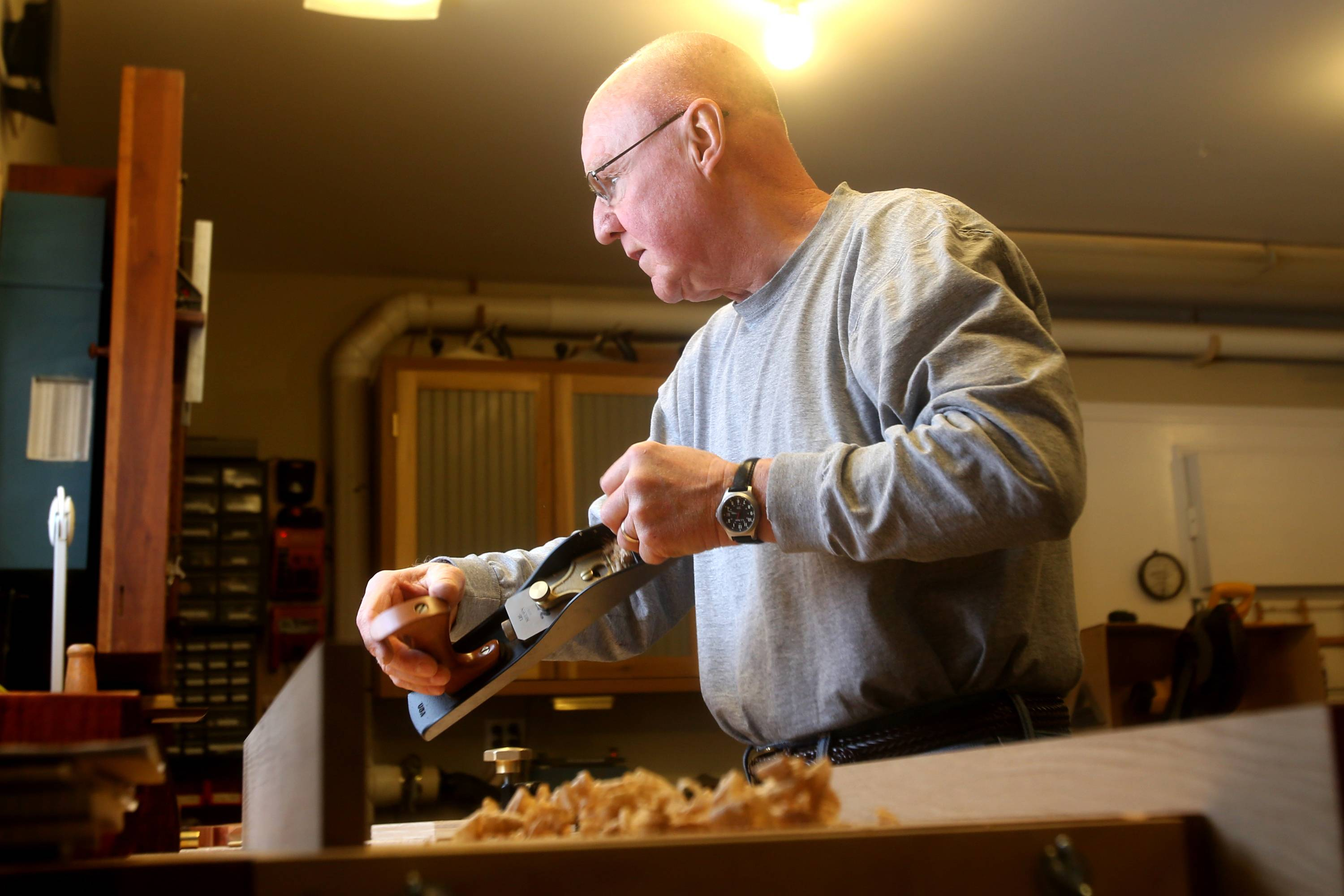 Maier uses hand planes, and says they produce an almost glasslike finish.