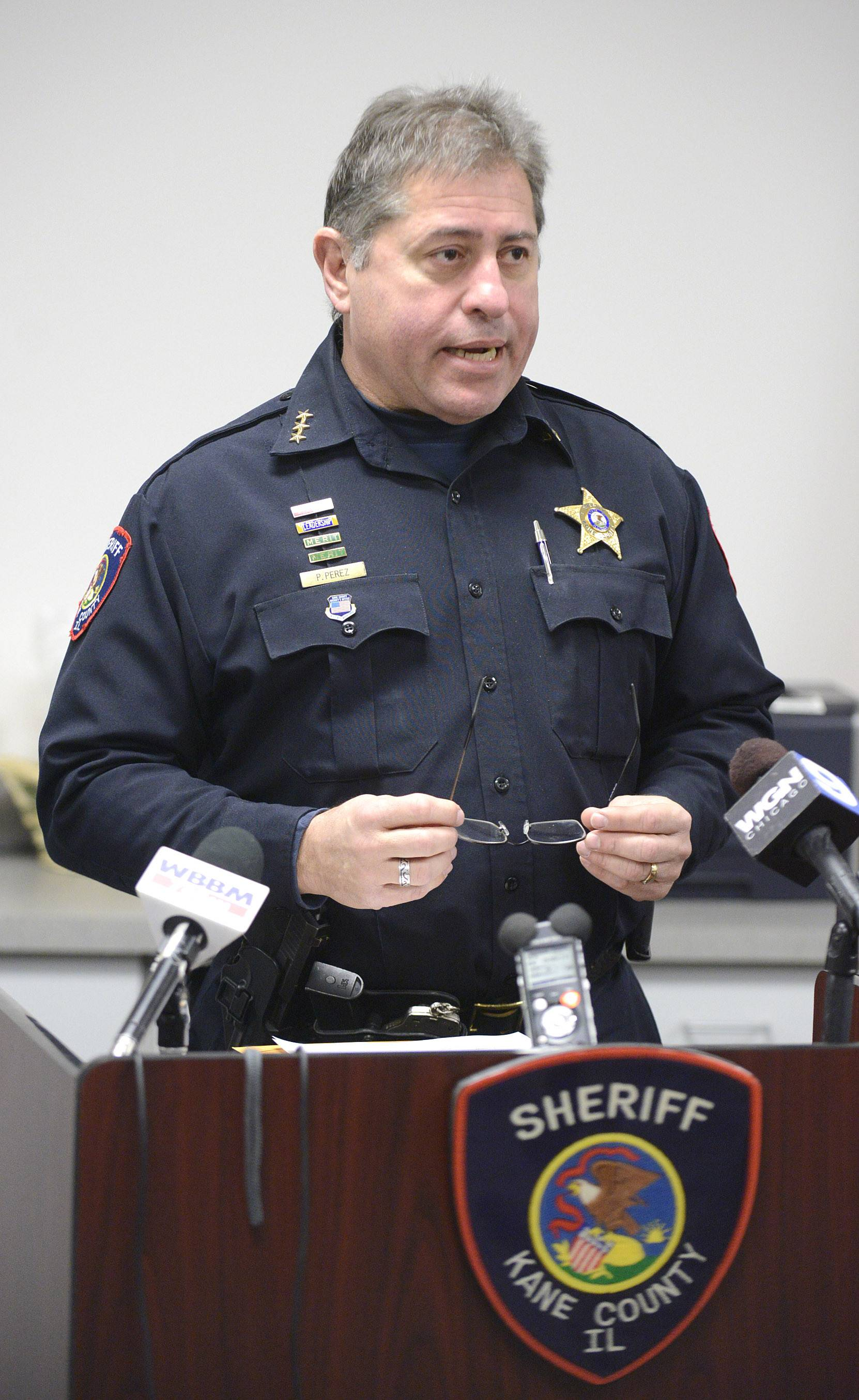 Kane County Sheriff Pat Perez talks Friday about the cocaine seizure that took place Tuesday morning in Aurora.